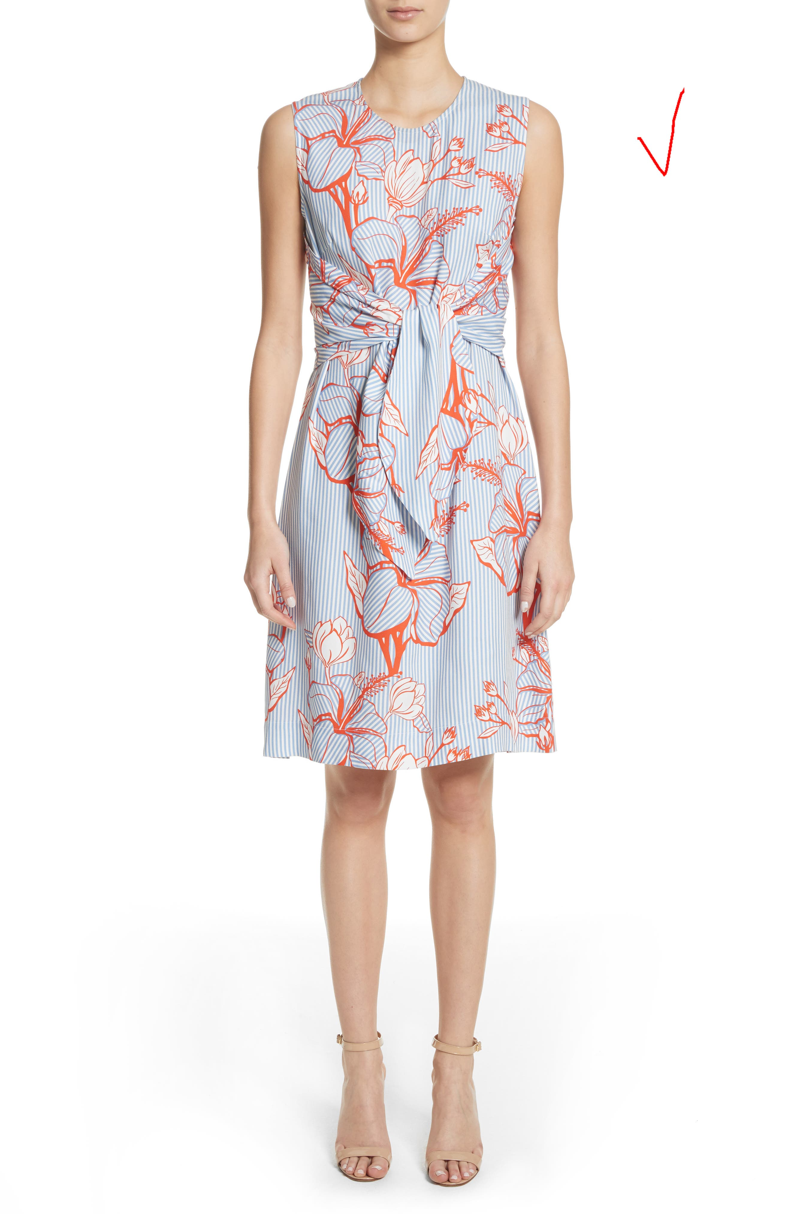 Tie Front Floral Stripe Dress,                             Alternate thumbnail 5, color,