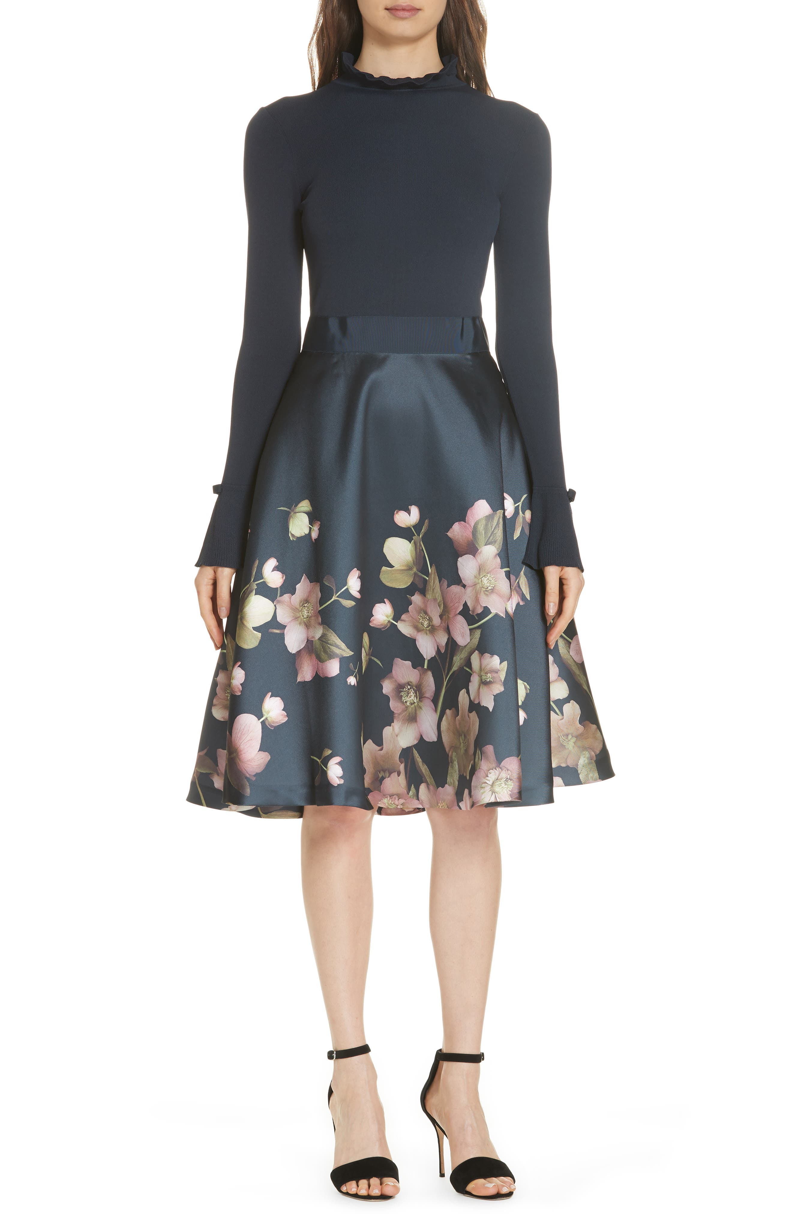 Seema Arboretum Dress,                         Main,                         color, NAVY