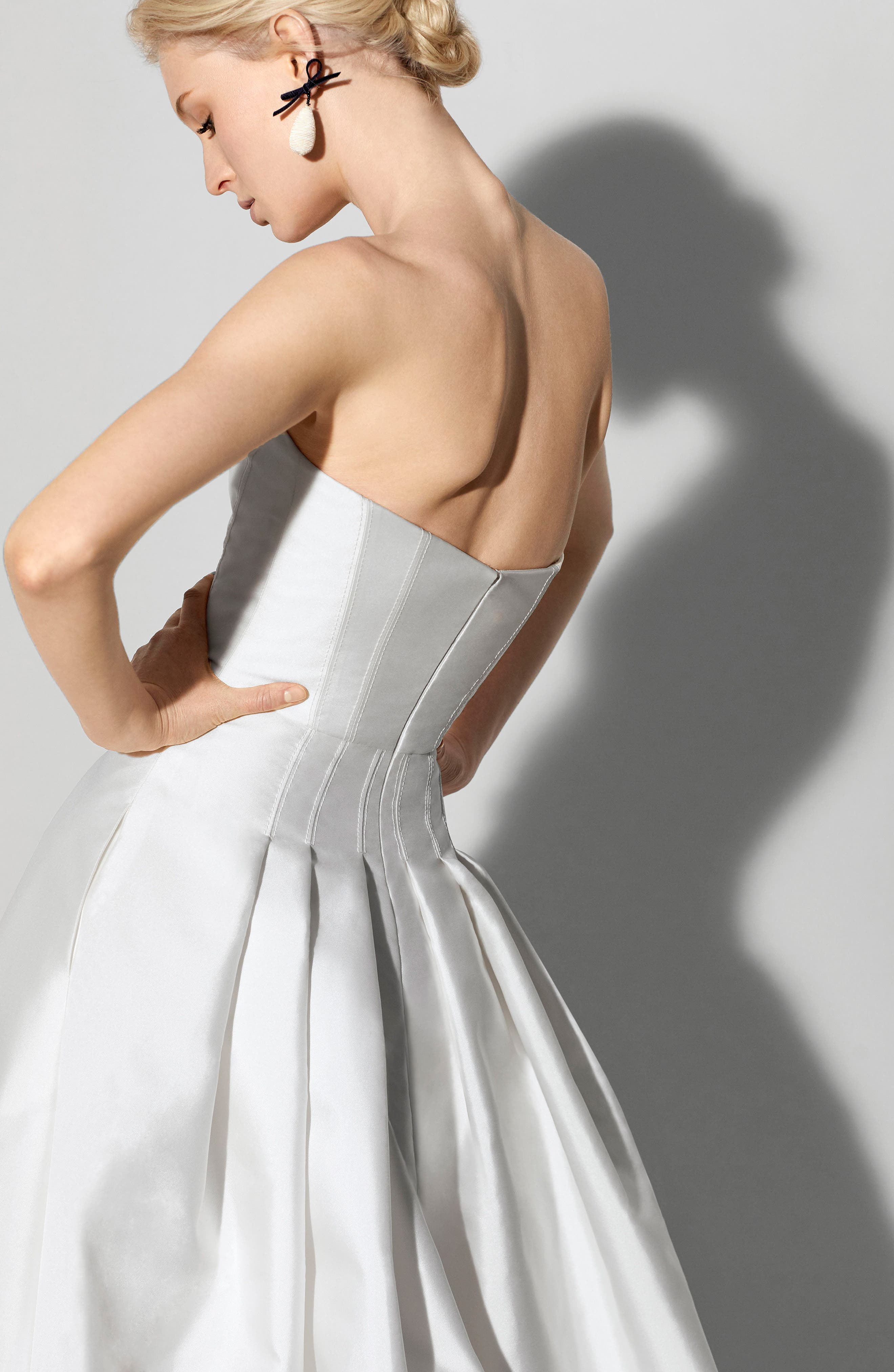 Fabel Strapless Silk Mikado Gown,                             Alternate thumbnail 2, color,                             SILKY WHITE