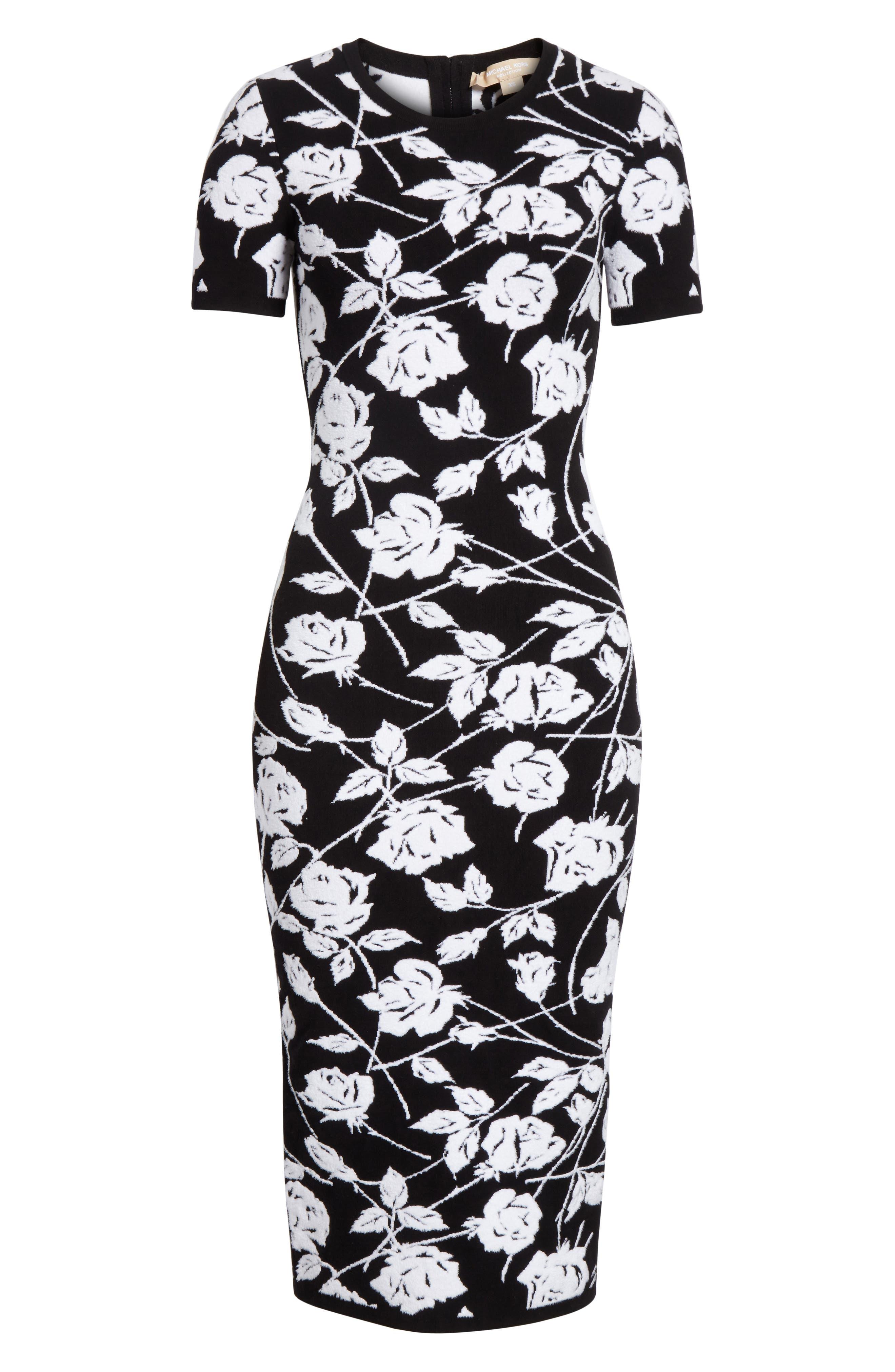 Stencil Rose Jacquard Dress,                             Alternate thumbnail 7, color,                             BLACK