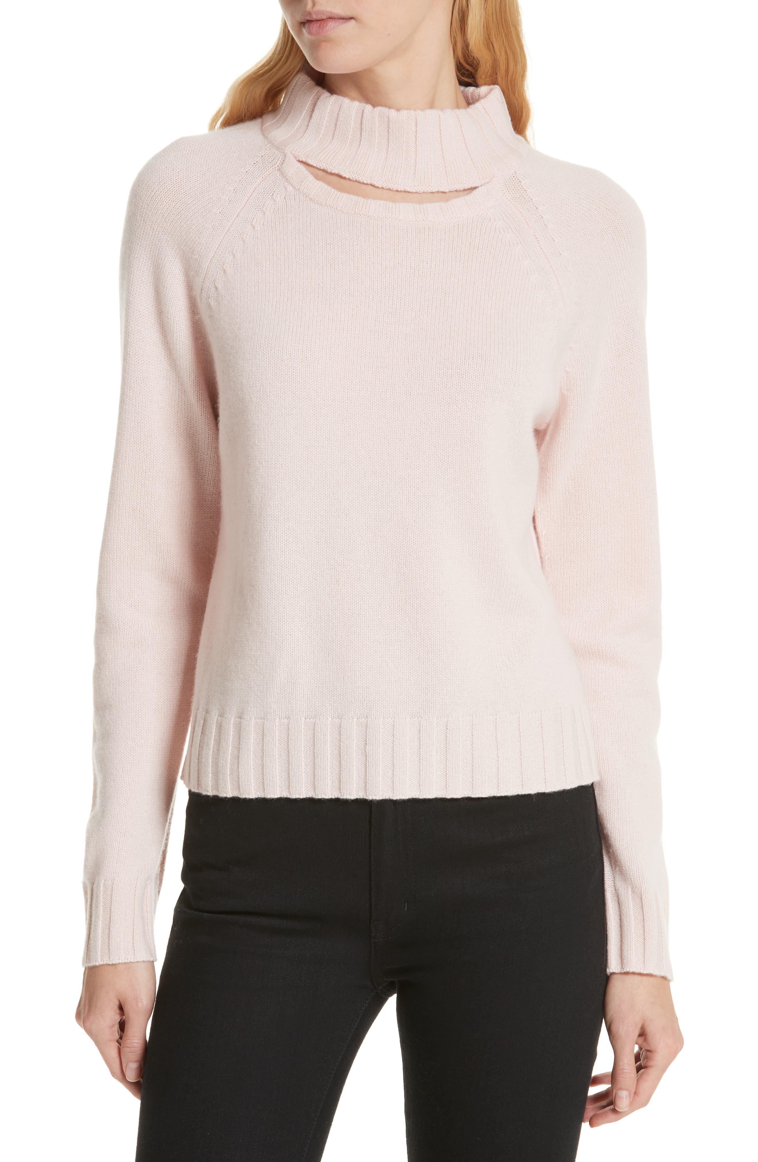 Equipment Cutout Detail Mock Neck Wool Cashmere Sweater, Pink