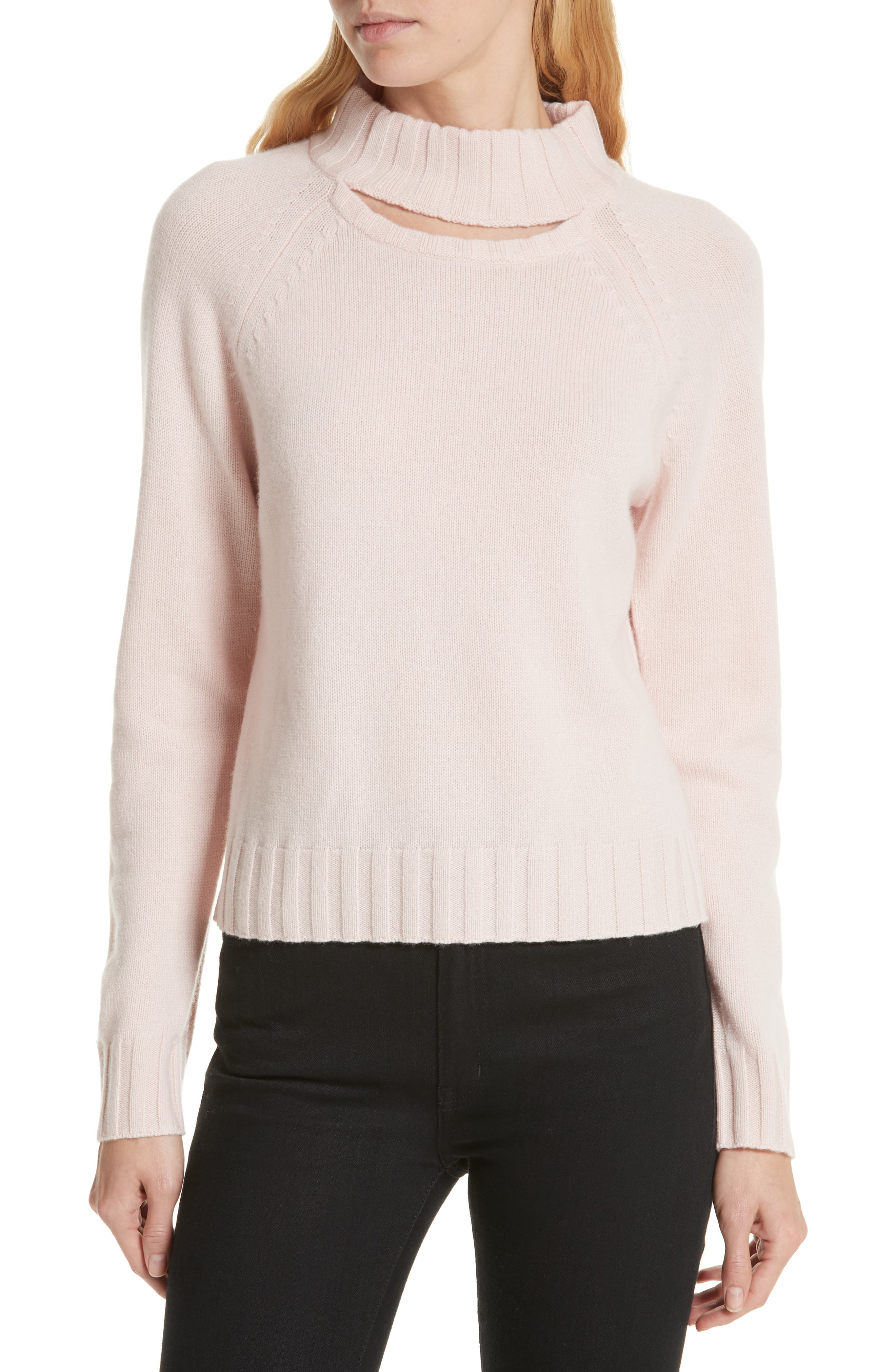 Cutout Detail Mock Neck Wool Cashmere Sweater,                         Main,                         color, CHARM PINK
