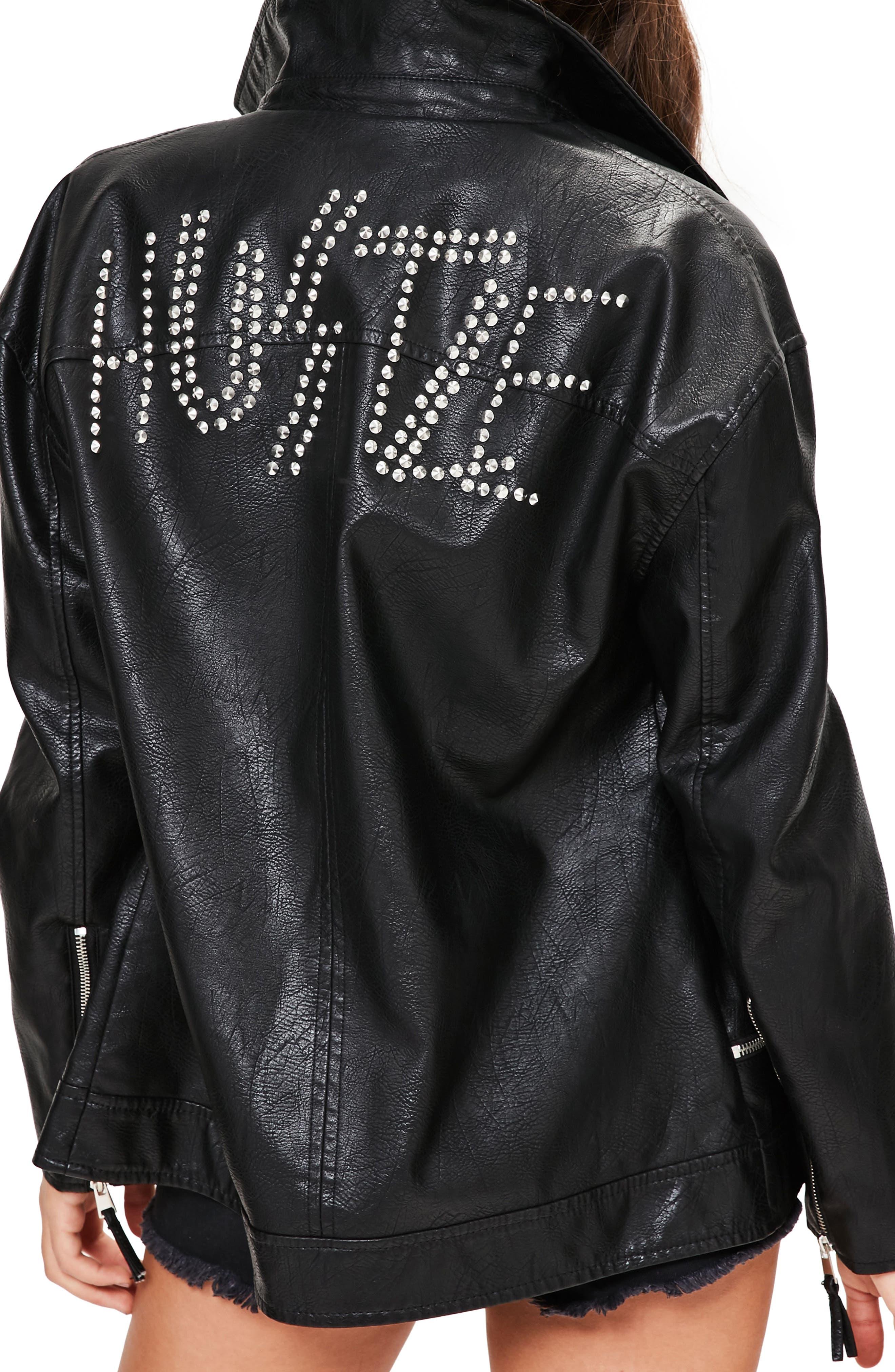 Hustle Faux Leather Biker Jacket,                             Alternate thumbnail 2, color,                             001