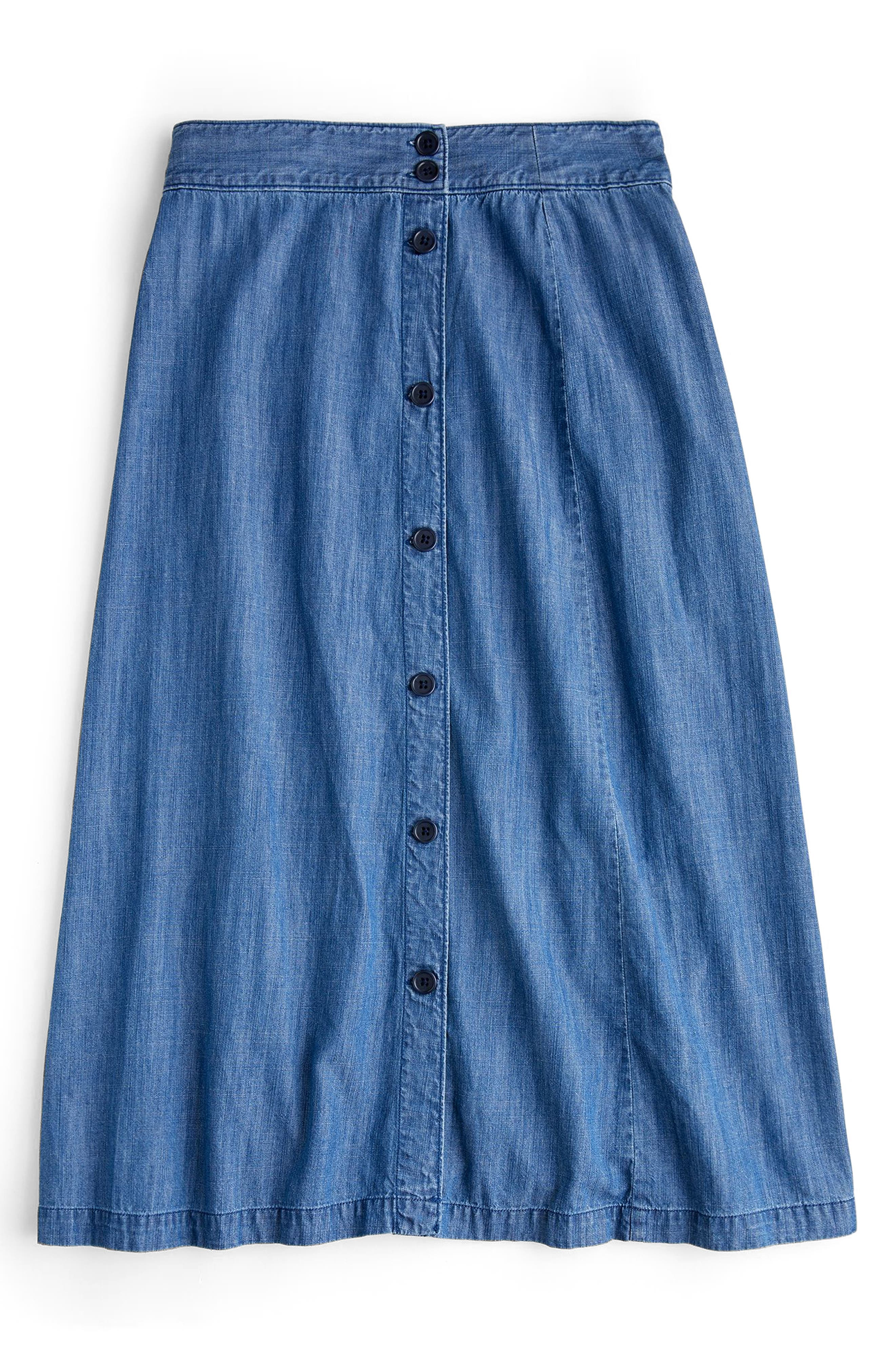 Side Button Chambray Skirt,                             Alternate thumbnail 3, color,