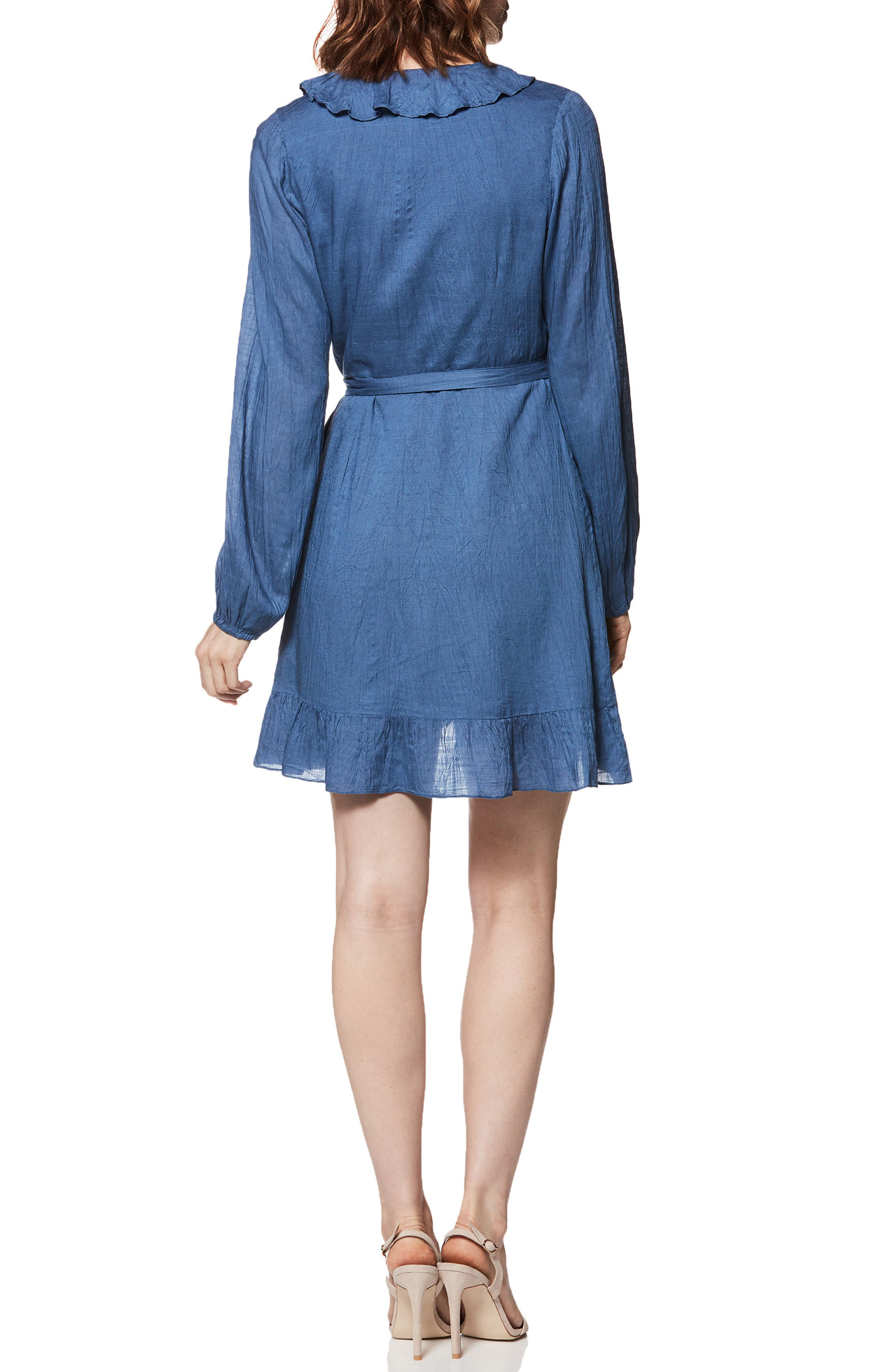 Shawna Ruffle Wrap Dress,                             Alternate thumbnail 2, color,                             BIJOU BLUE