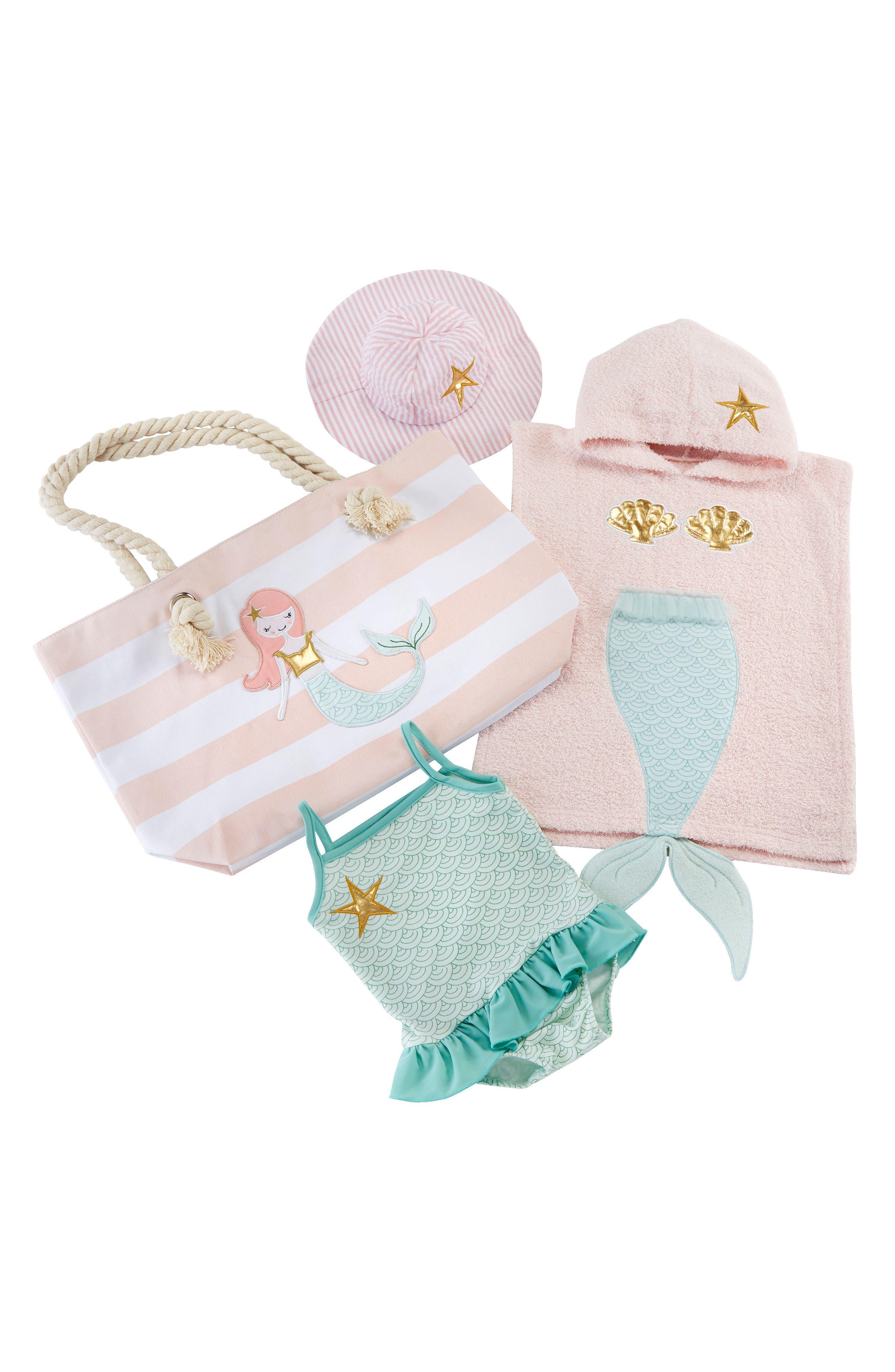 Mermaid Hooded Towel, Swimsuit, Sun Hat & Tote Set,                             Main thumbnail 1, color,                             PINK