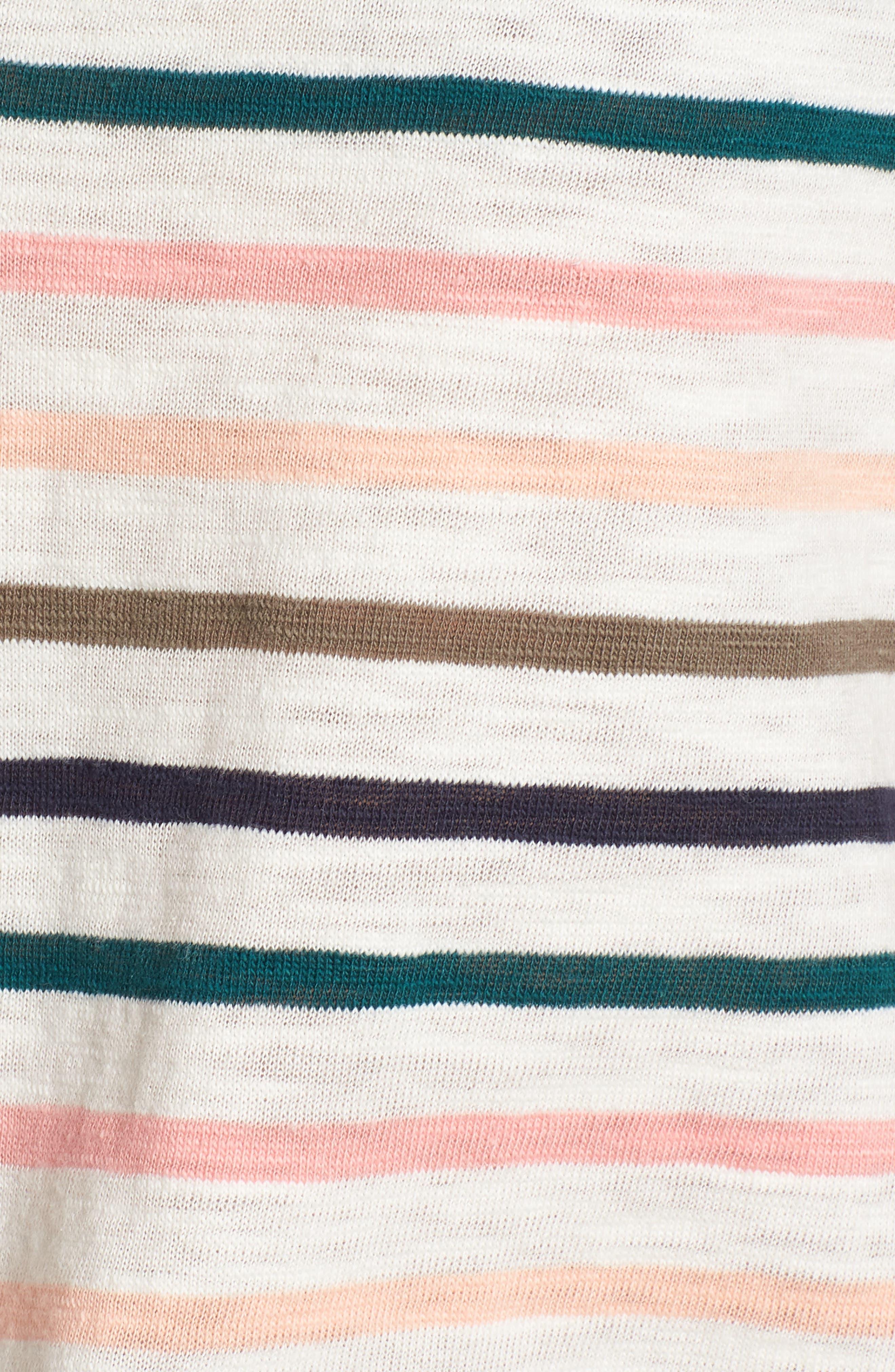 Sunset Stripe V-Neck Tee,                             Alternate thumbnail 5, color,                             652
