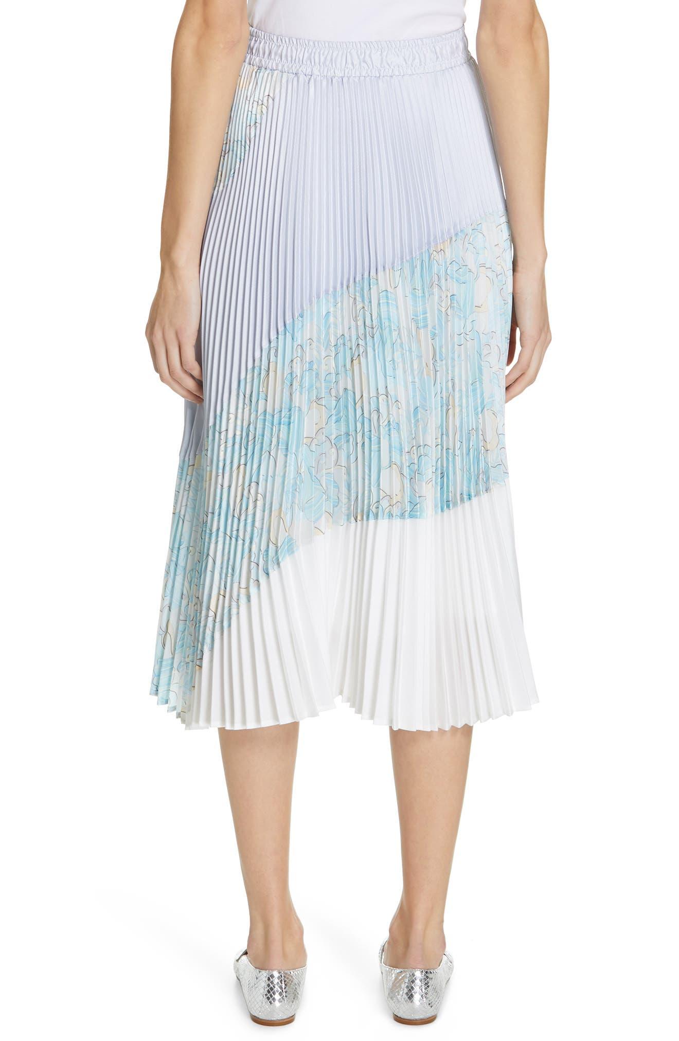 Floral Colorblock Pleated Skirt,                             Alternate thumbnail 2, color,                             BLUE
