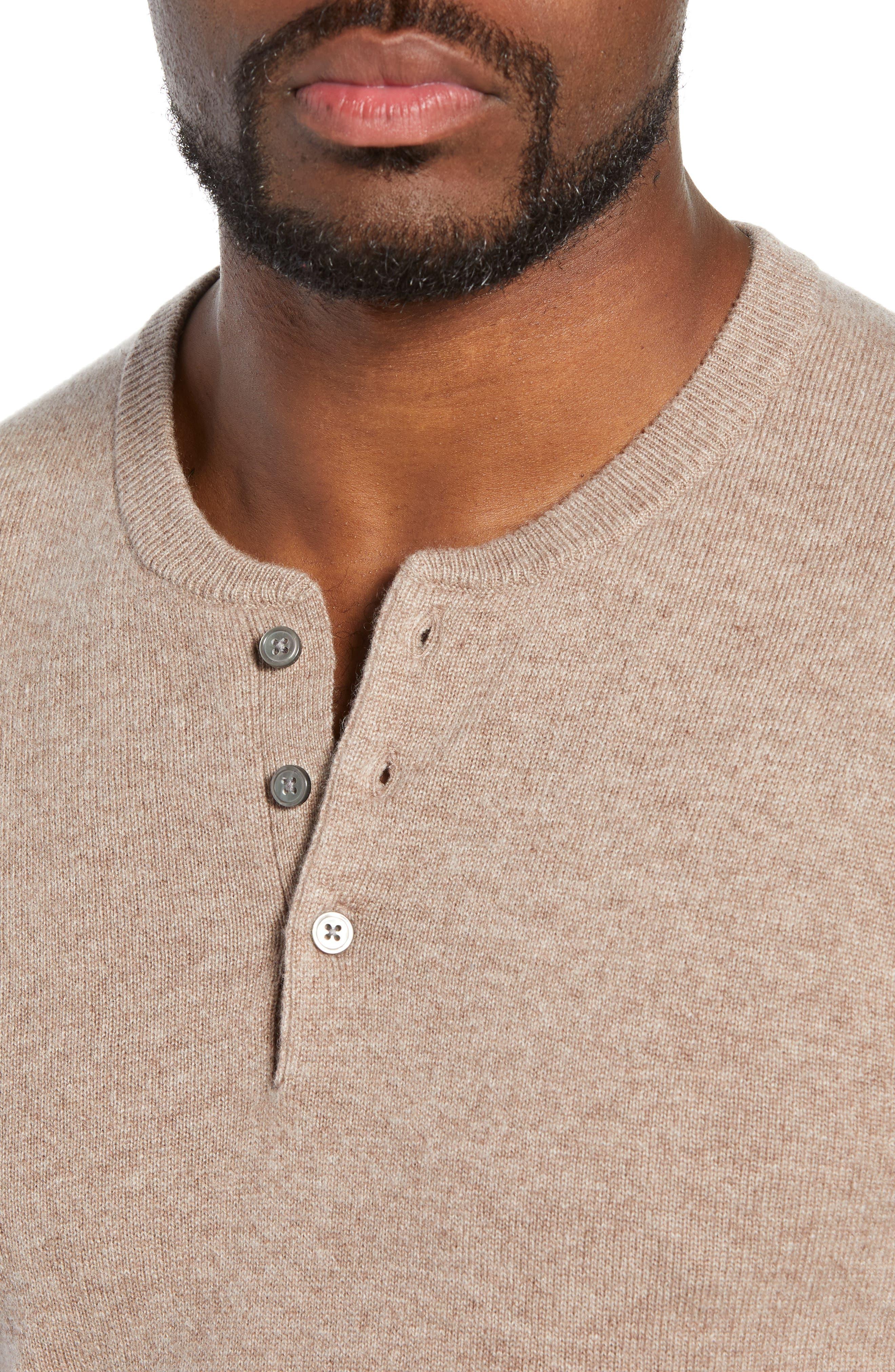 Slim Fit Cashmere Henley Sweater,                             Alternate thumbnail 4, color,                             200