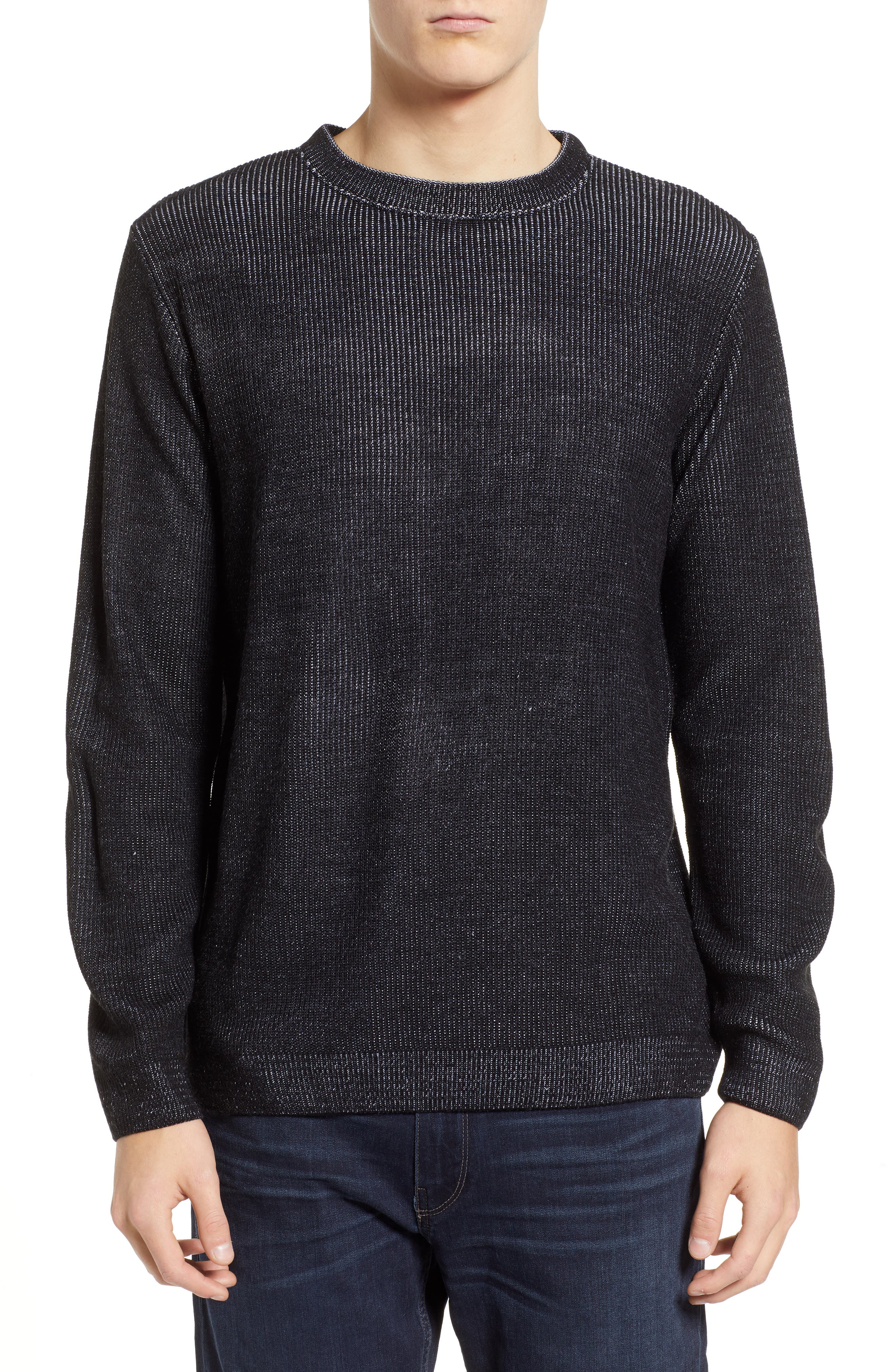 Plaited Crewneck Sweater,                             Main thumbnail 1, color,                             BLACK