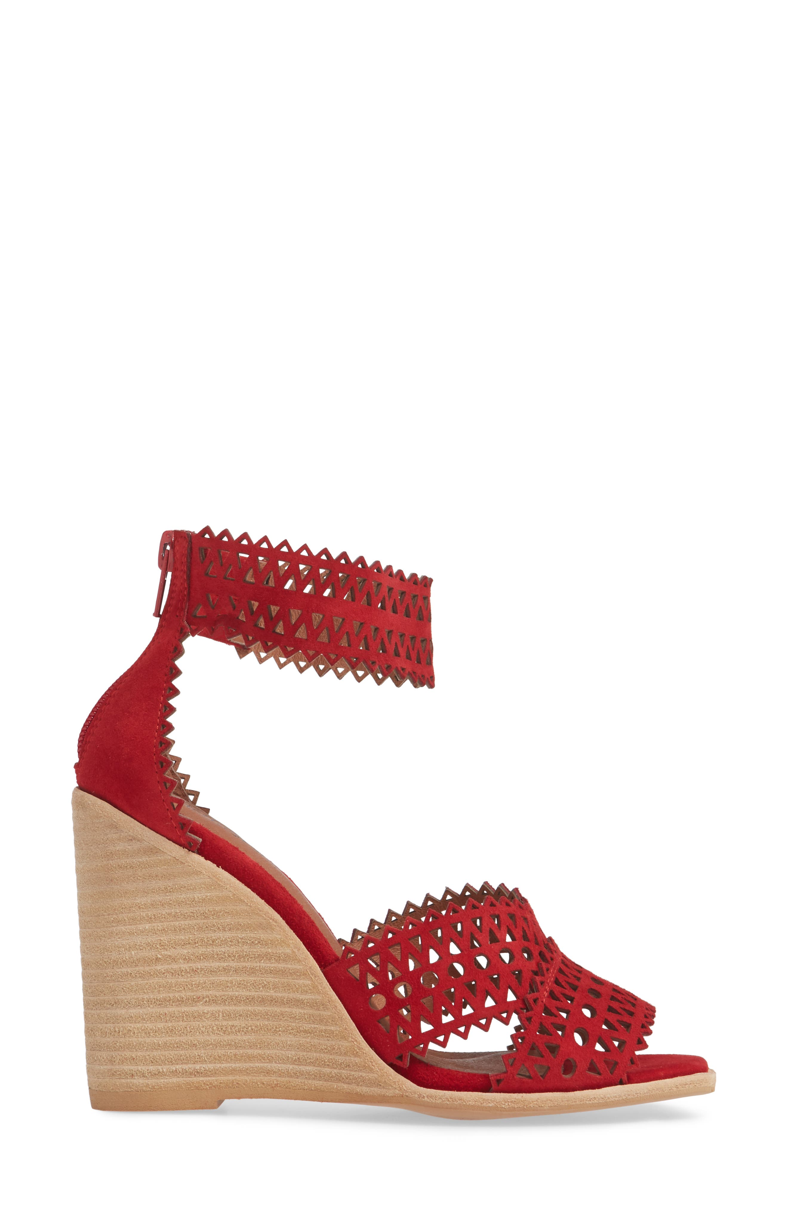 Besante Perforated Wedge Sandal,                             Alternate thumbnail 3, color,                             600