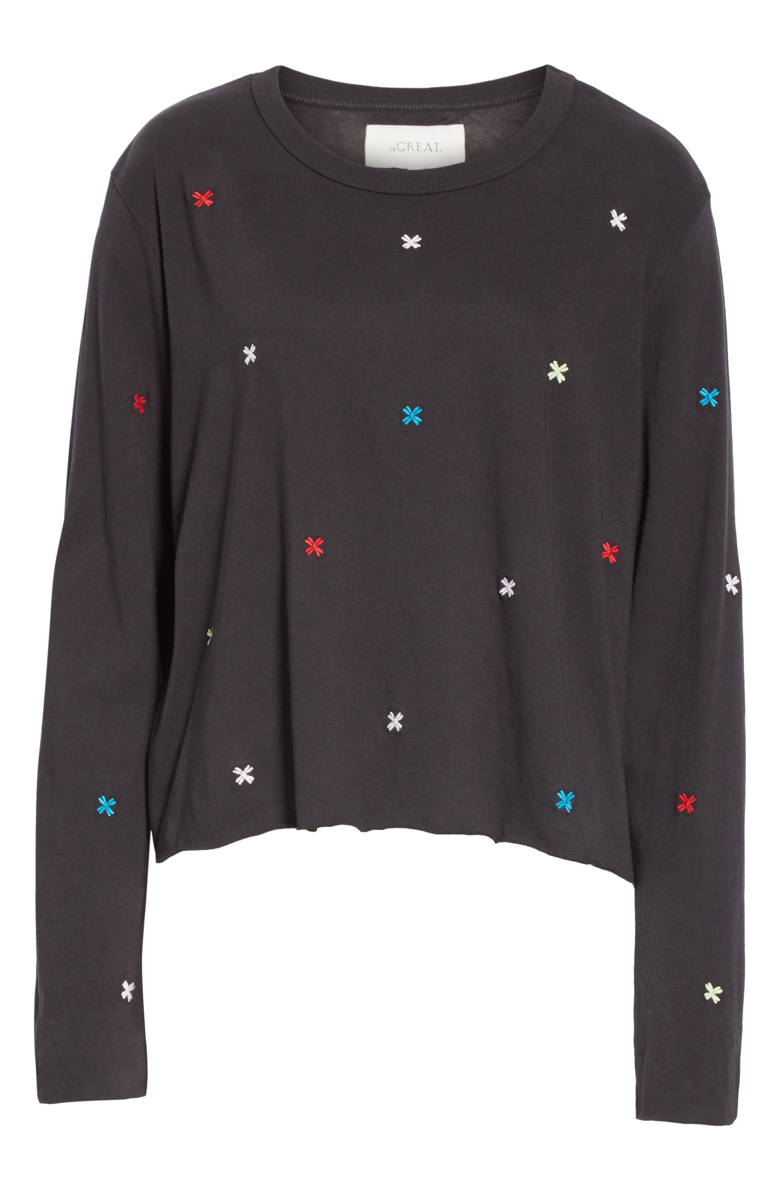 The Long Sleeve Embroidered Crop Tee,                             Alternate thumbnail 6, color,                             ALMOST BLACK/ MULTI
