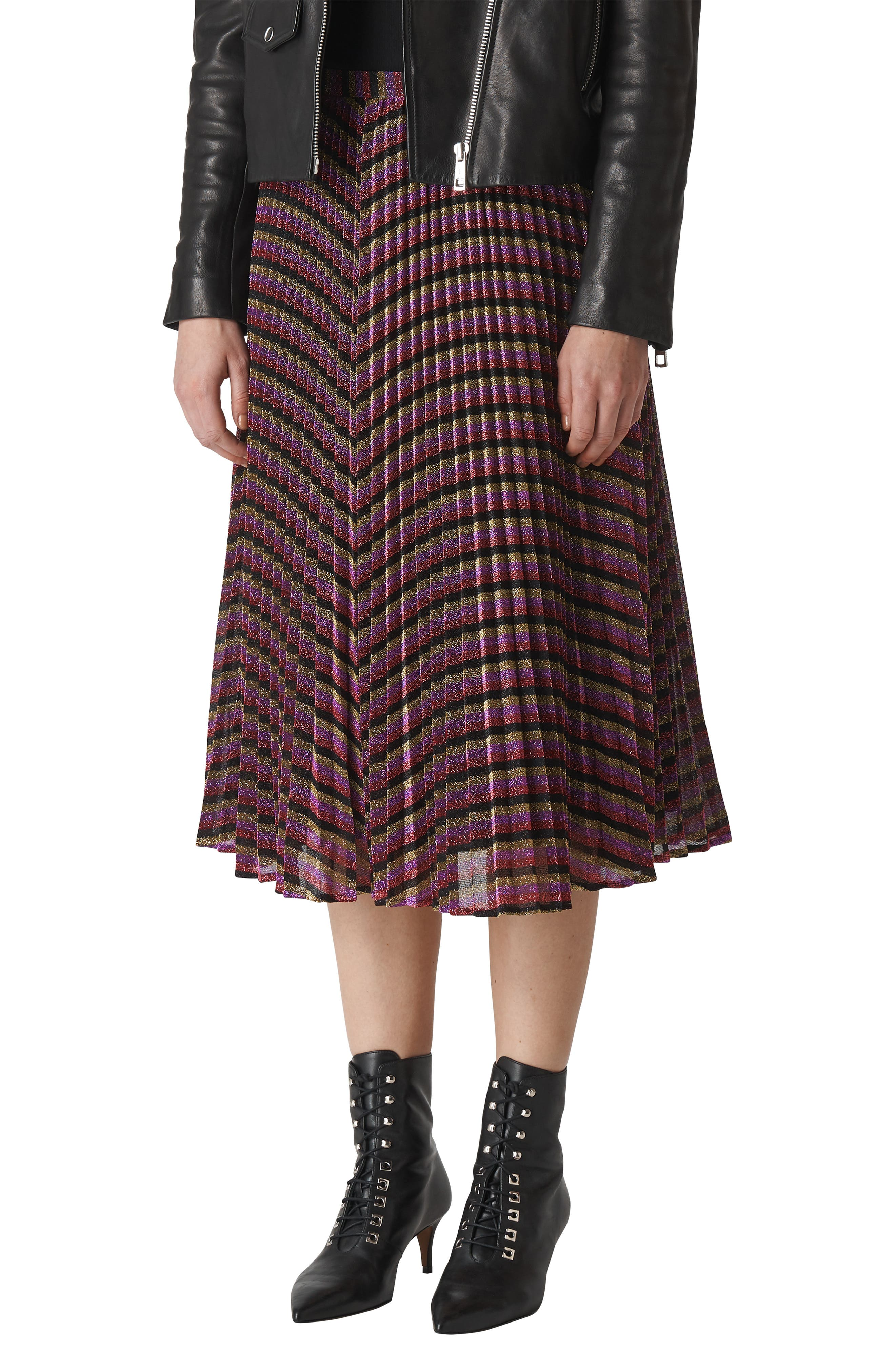 Sparkle Stripe Pleated Skirt,                             Alternate thumbnail 7, color,                             MULTICOLOUR