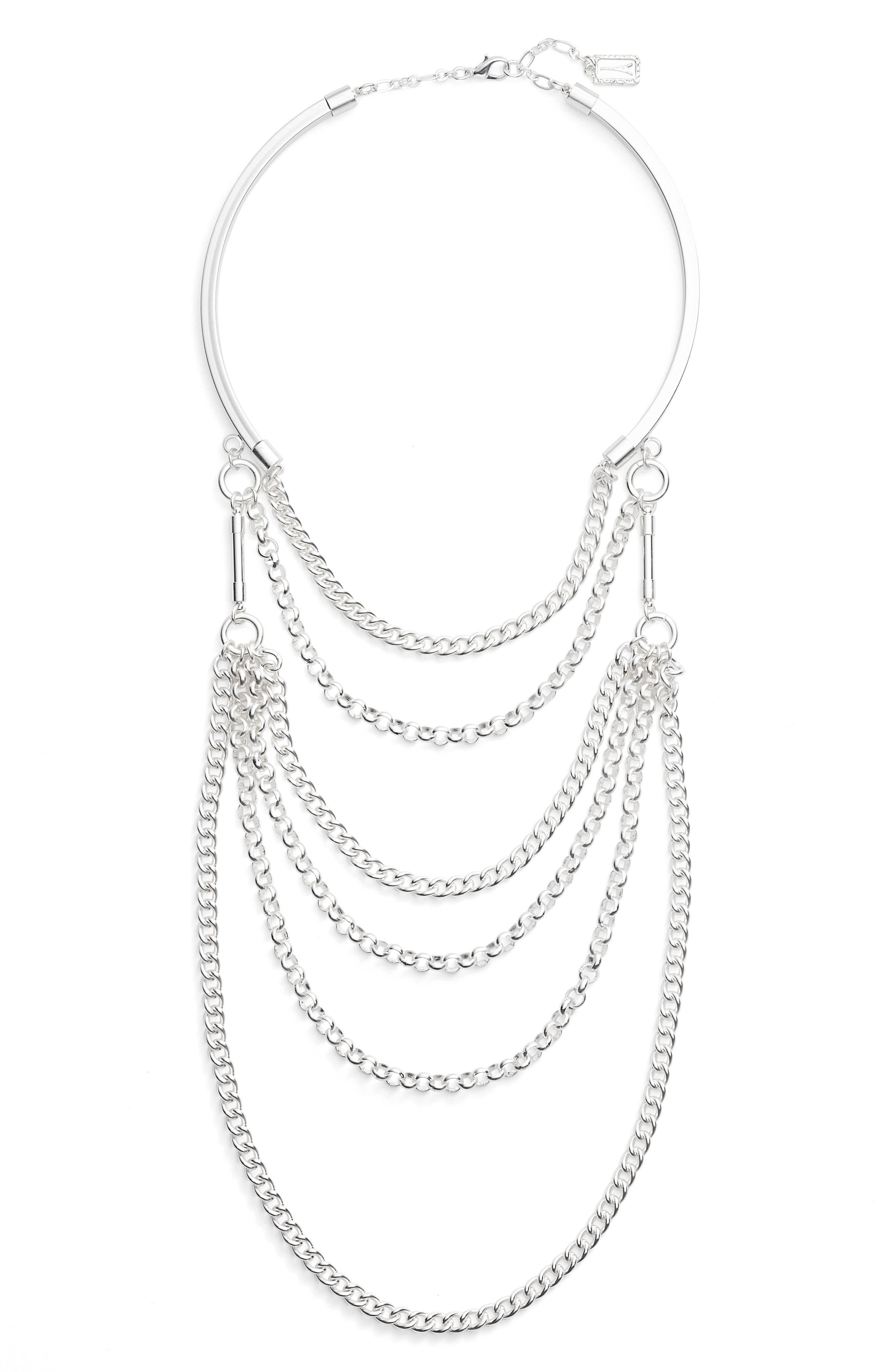 Elia Layered Necklace,                         Main,                         color, SILVER
