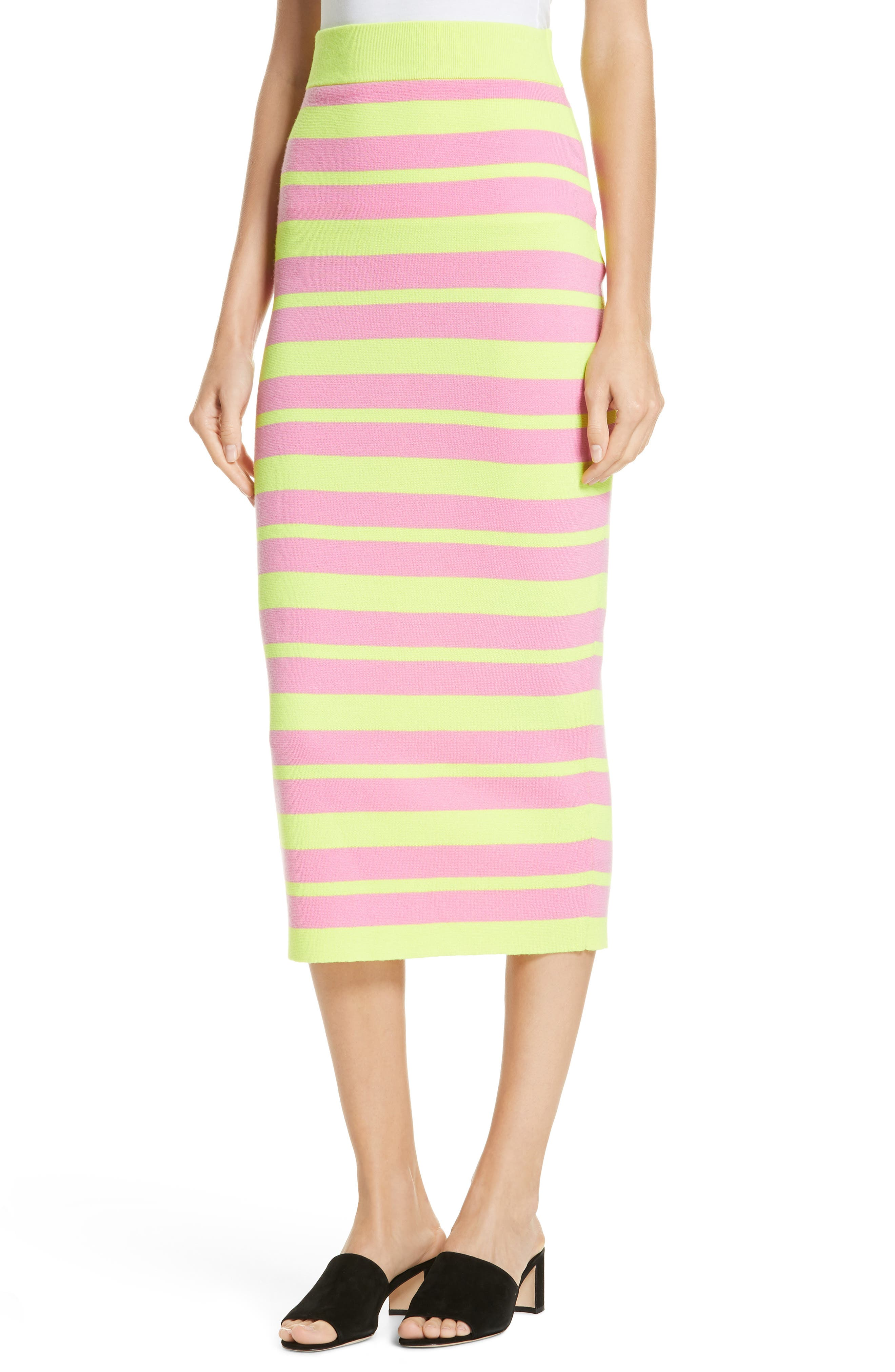 Stripe Knit Maxi Skirt,                             Alternate thumbnail 4, color,                             LIME AND PINK COMBO