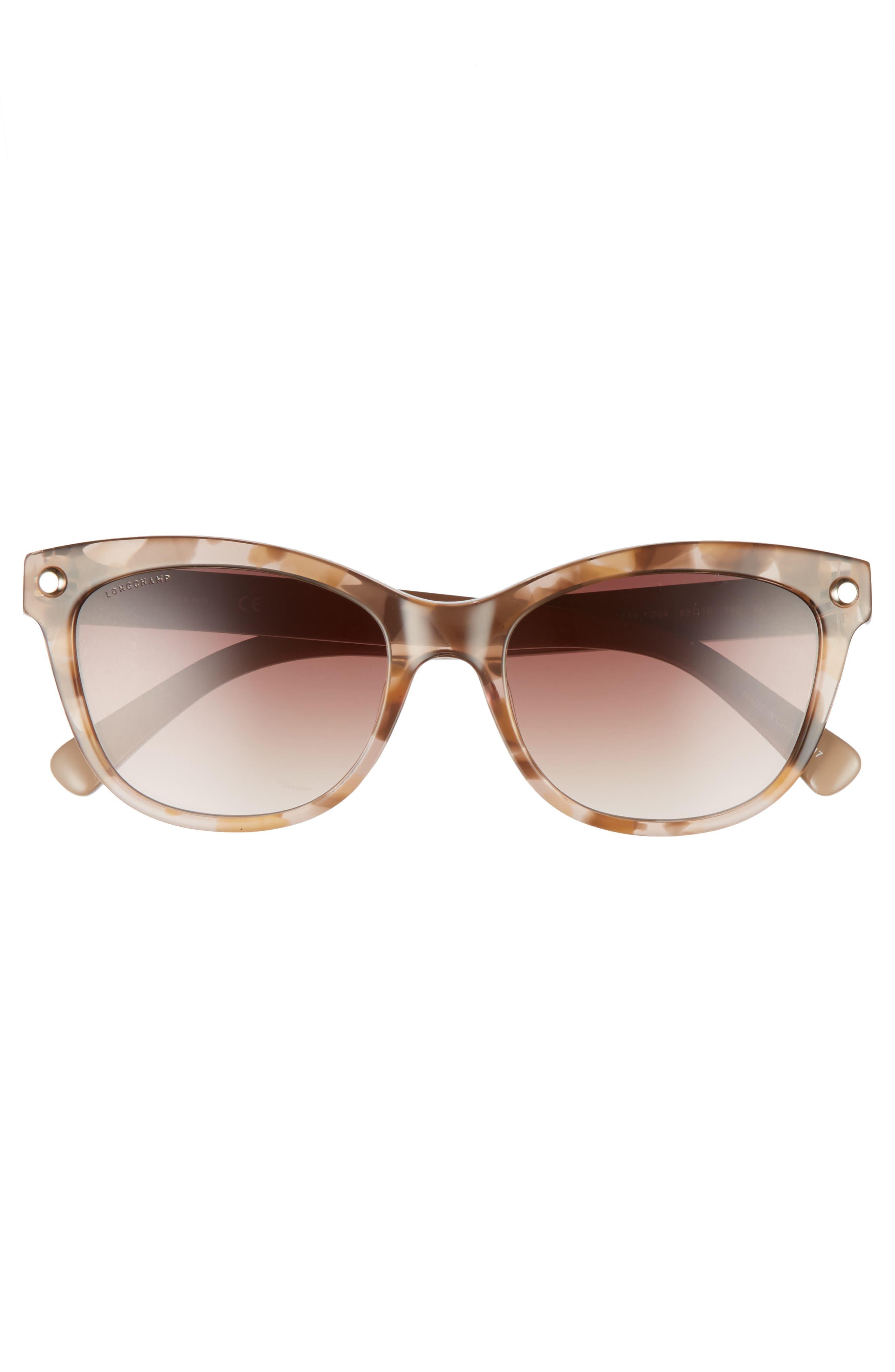 53mm Gradient Lens Cat Eye Sunglasses,                             Alternate thumbnail 3, color,                             MARBLE BEIGE