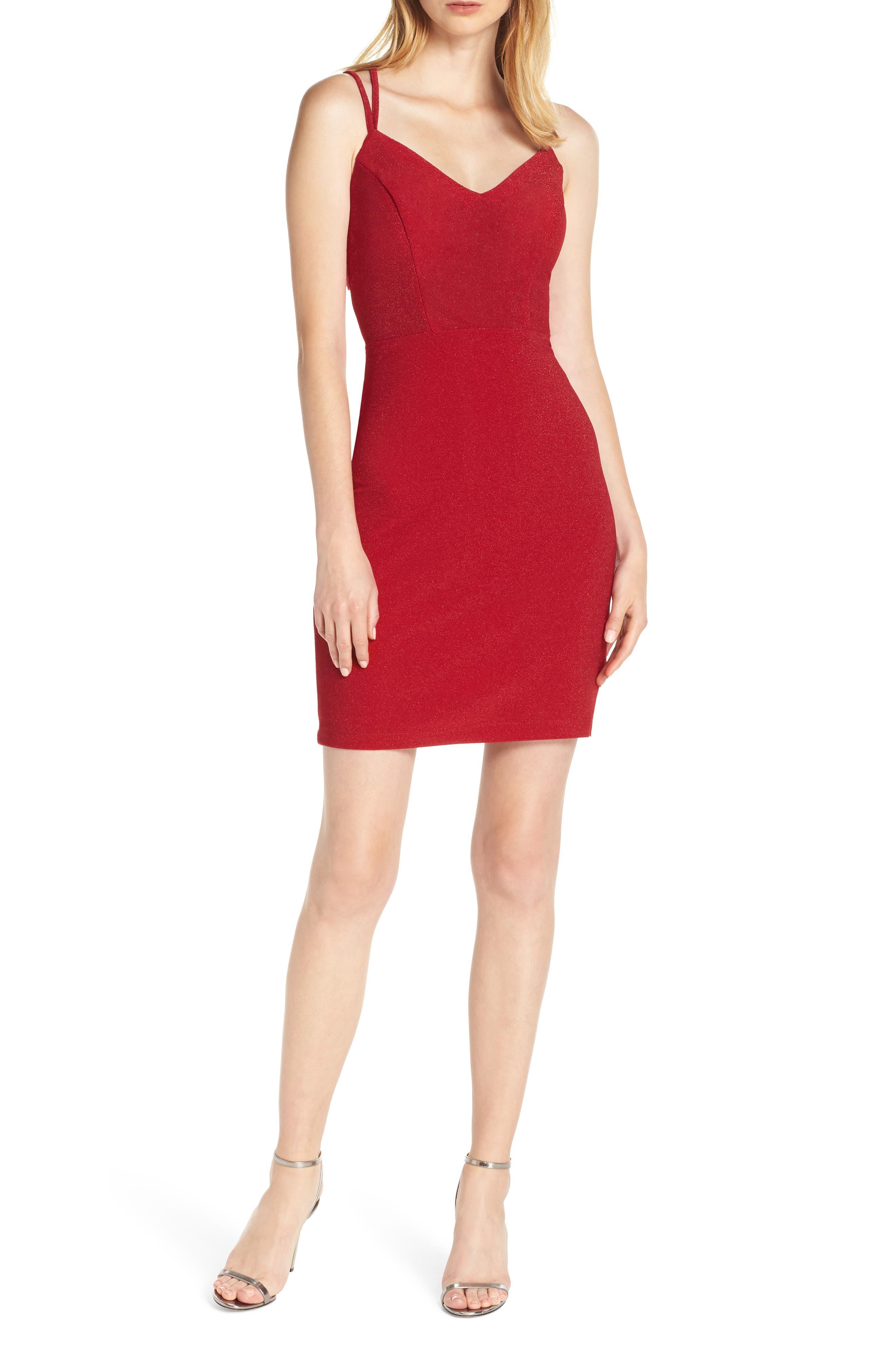 Morgan & Co. Strappy Glitter Knit Dress, Red