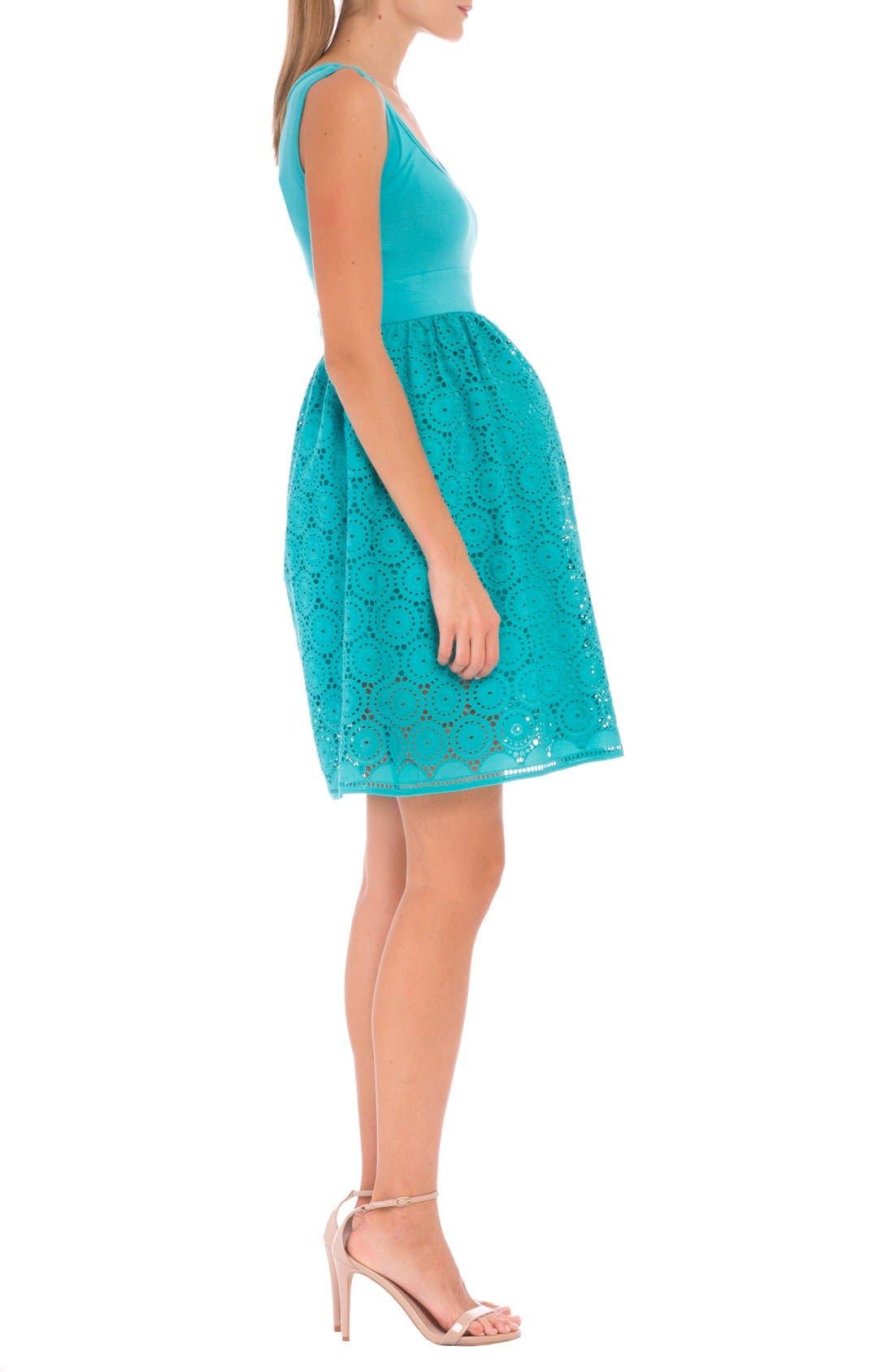 Crochet Maternity Dress,                             Alternate thumbnail 3, color,                             AQUA