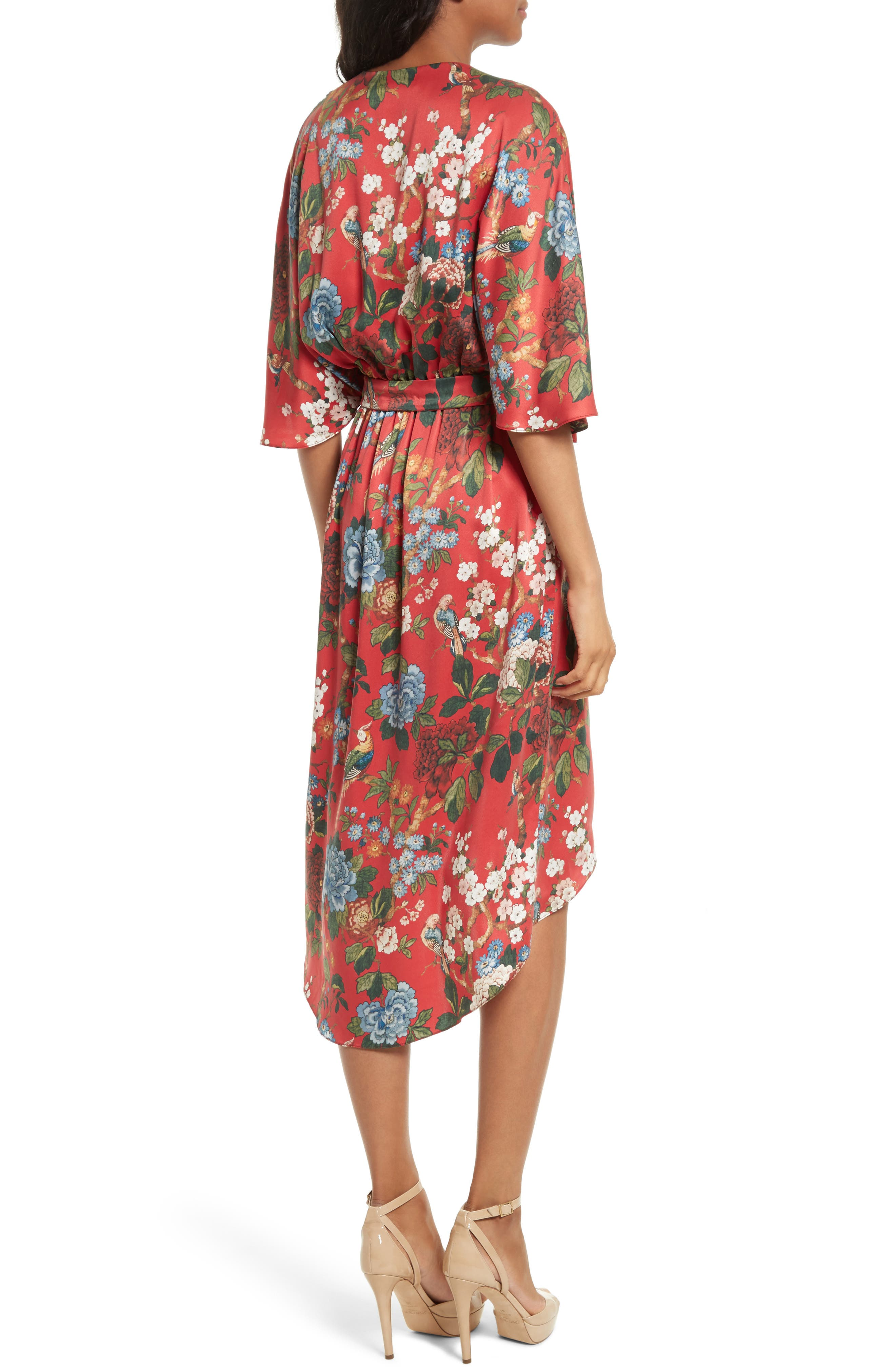 Clarine Floral Silk Wrap Dress,                             Alternate thumbnail 2, color,                             647