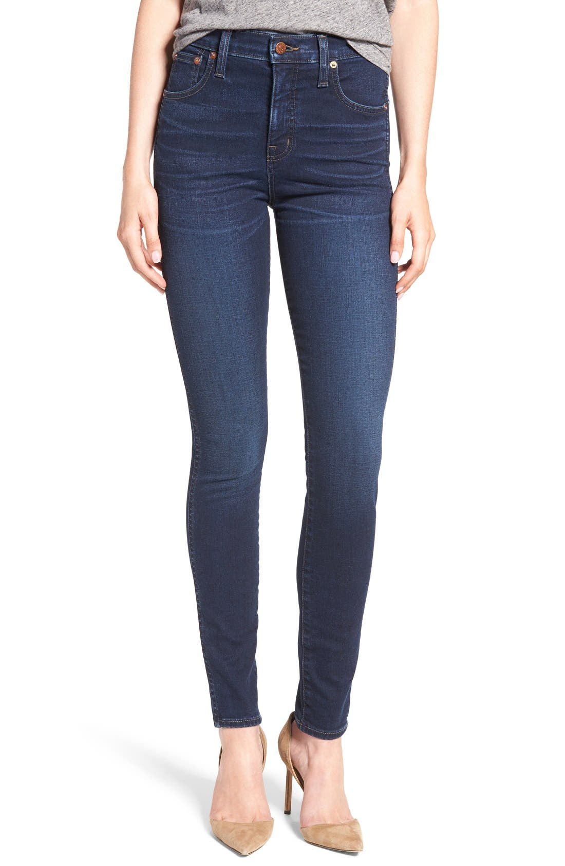 MADEWELL,                             10-Inch High Rise Skinny Jeans,                             Alternate thumbnail 10, color,                             HAYES WASH