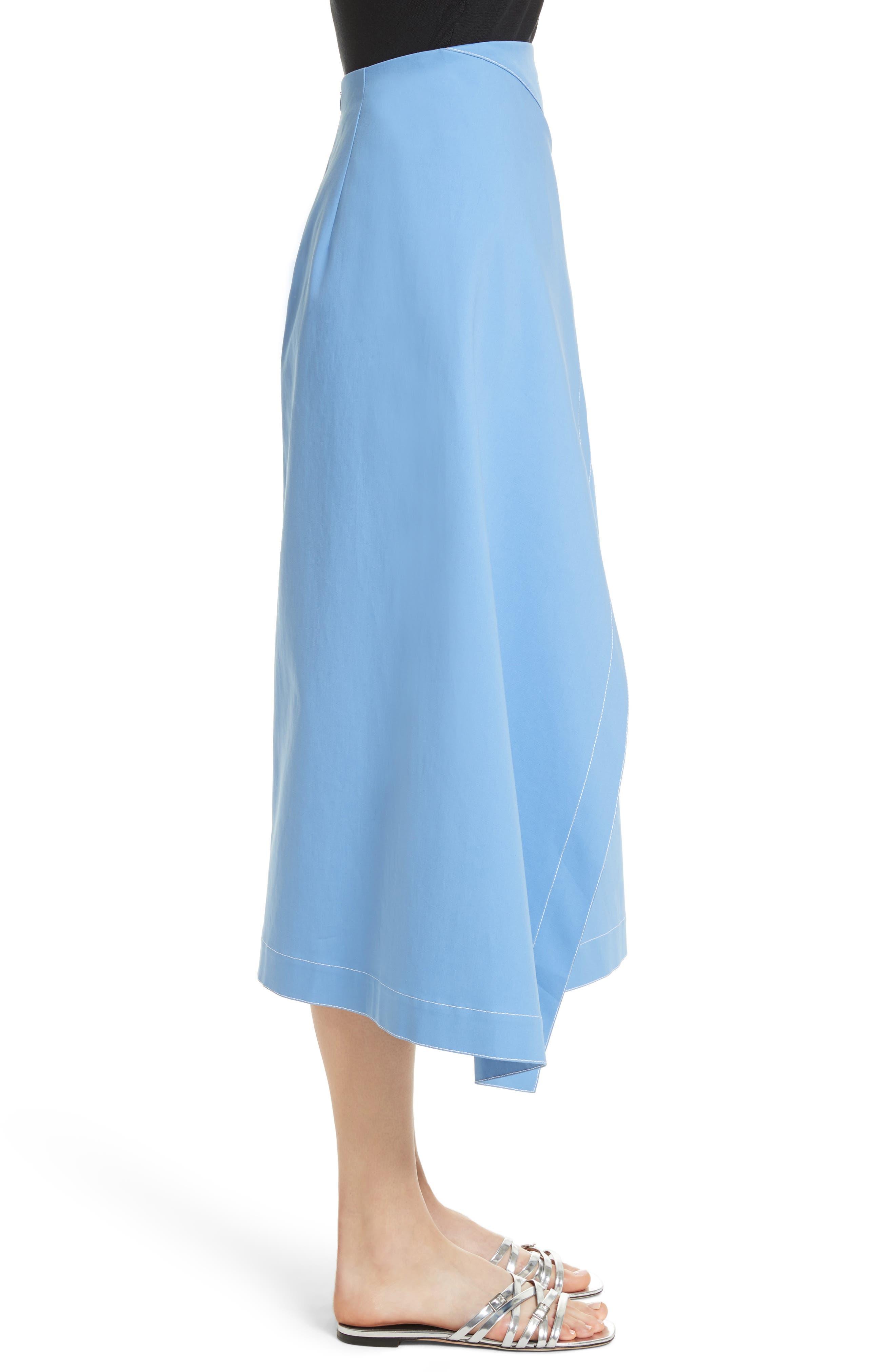 Asymmetrical Stretch Cotton Skirt,                             Alternate thumbnail 3, color,                             450