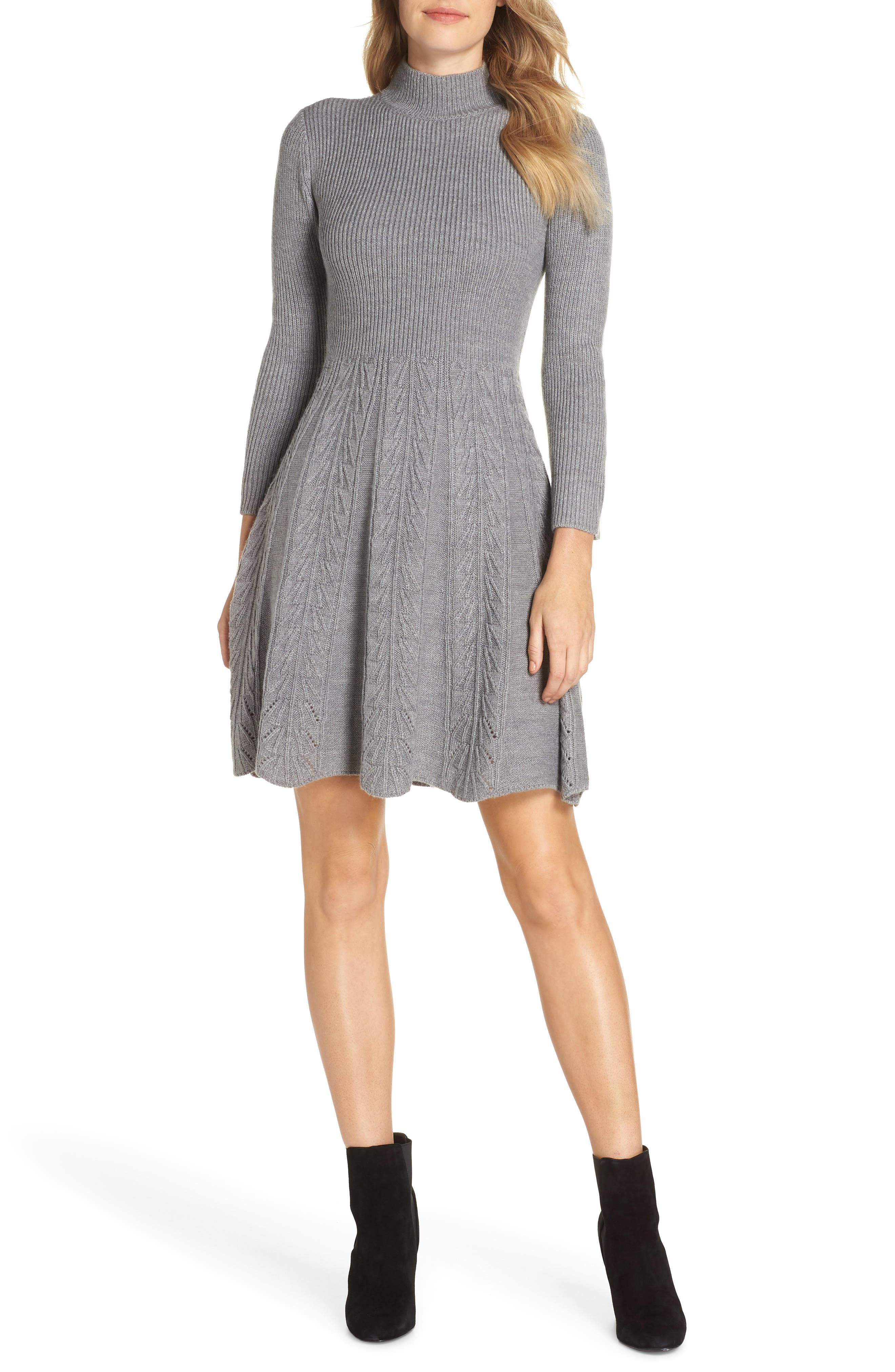Mock Neck Fit & Flare Sweater Dress, Main, color, GREY