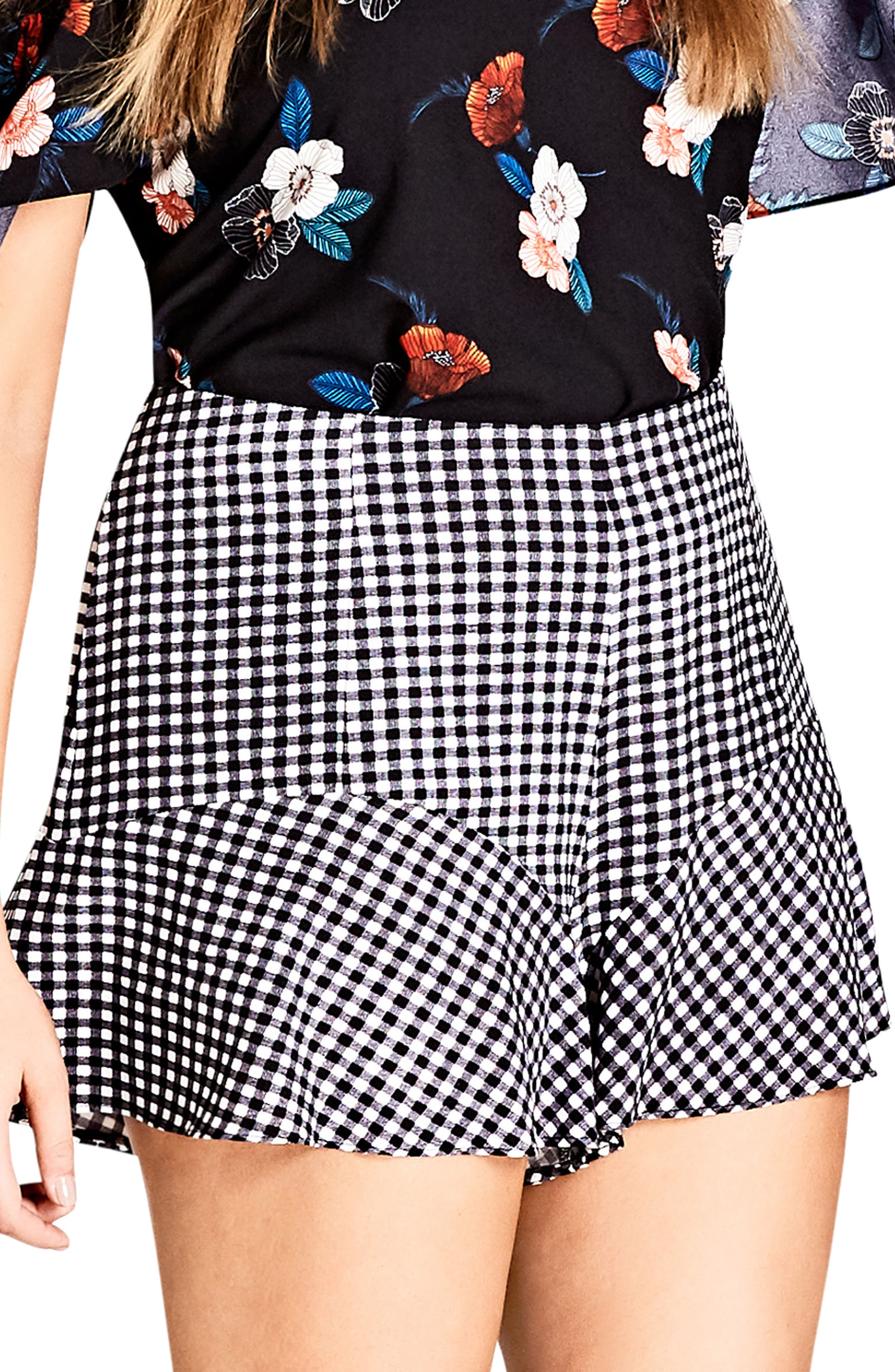 Cute Gingham Flutter Shorts,                             Main thumbnail 1, color,                             BLACK CHECK