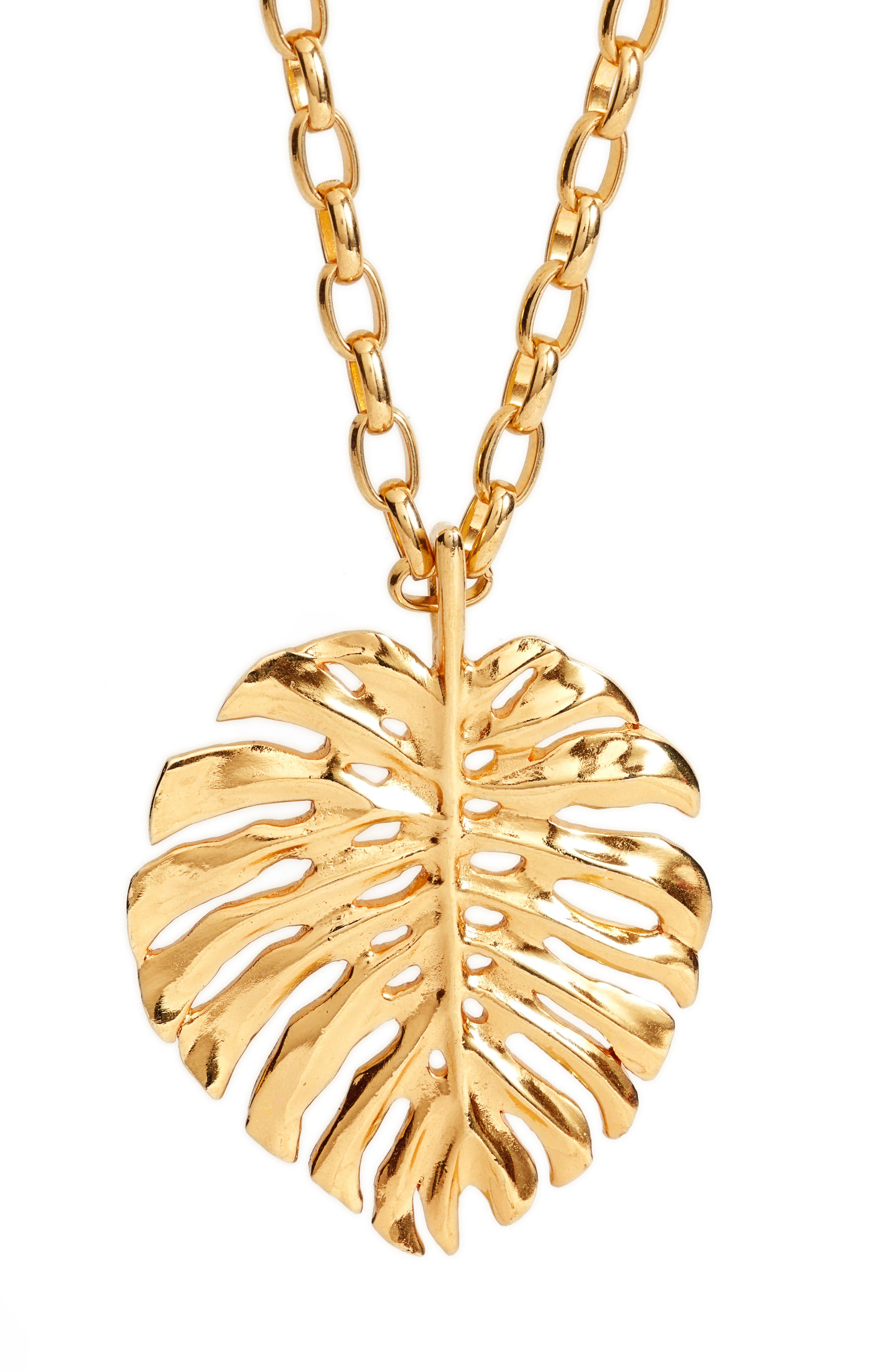 Monstera Leaf Pendant Necklace,                             Alternate thumbnail 2, color,