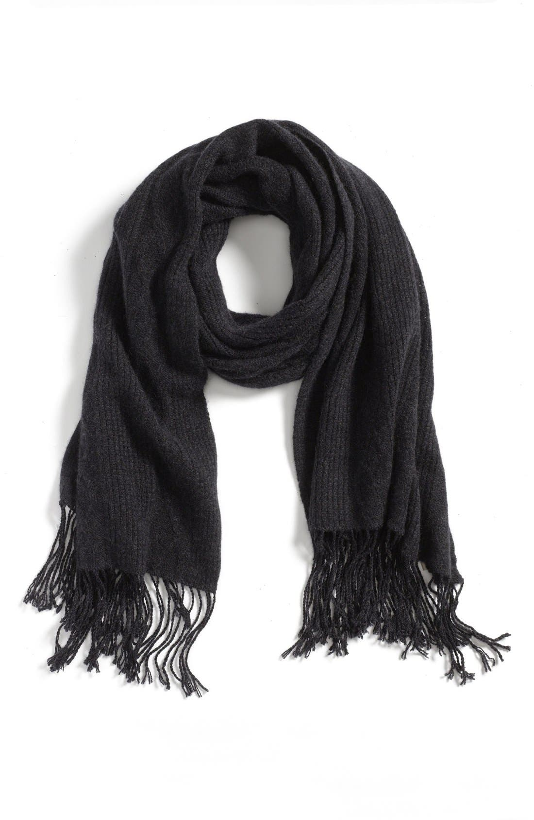 NORDSTROM 'Luxe' Cable Knit Cashmere Scarf, Main, color, 001