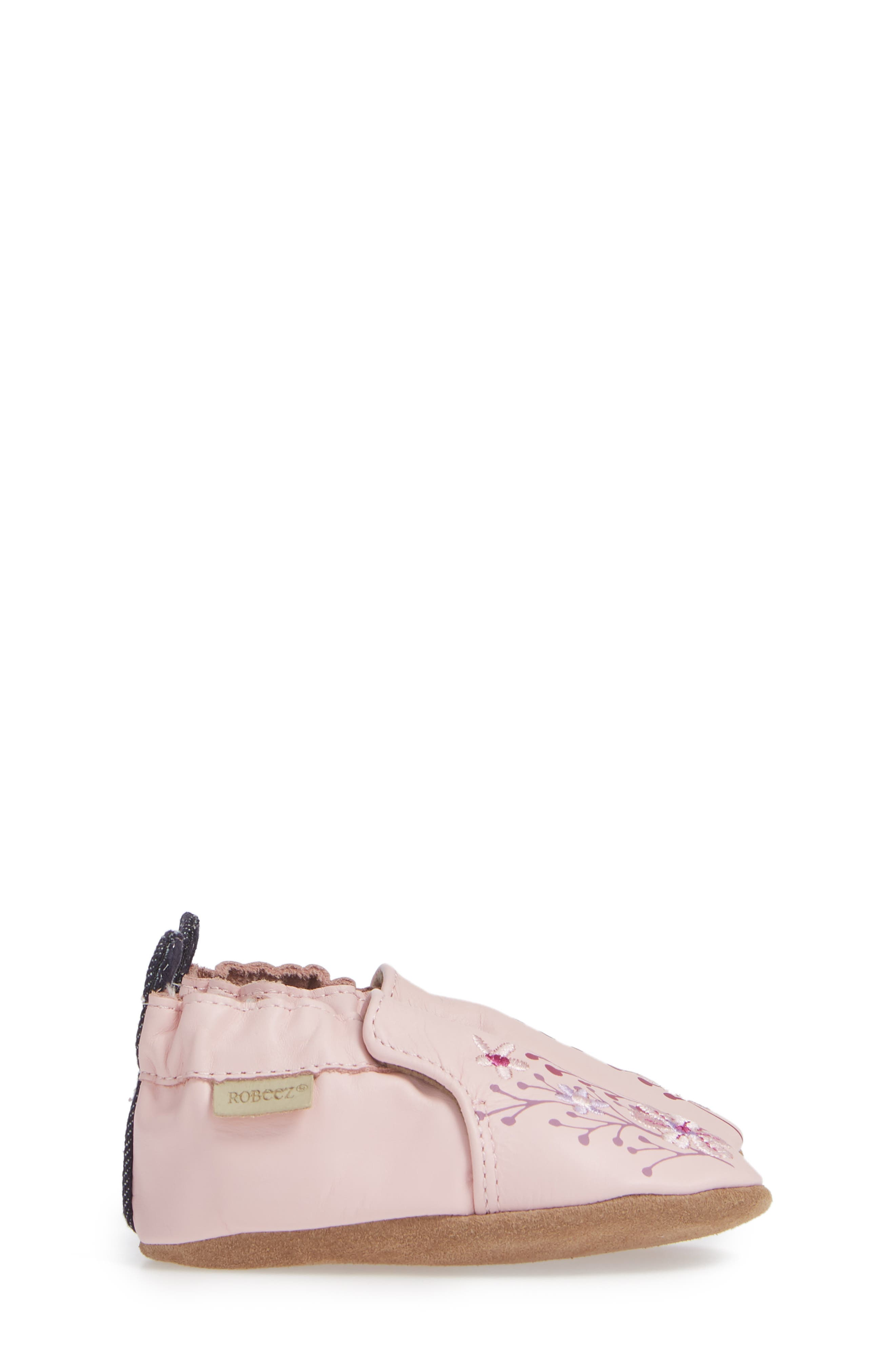 Blooming Floral Crib Shoe,                             Alternate thumbnail 3, color,                             LIGHT PINK