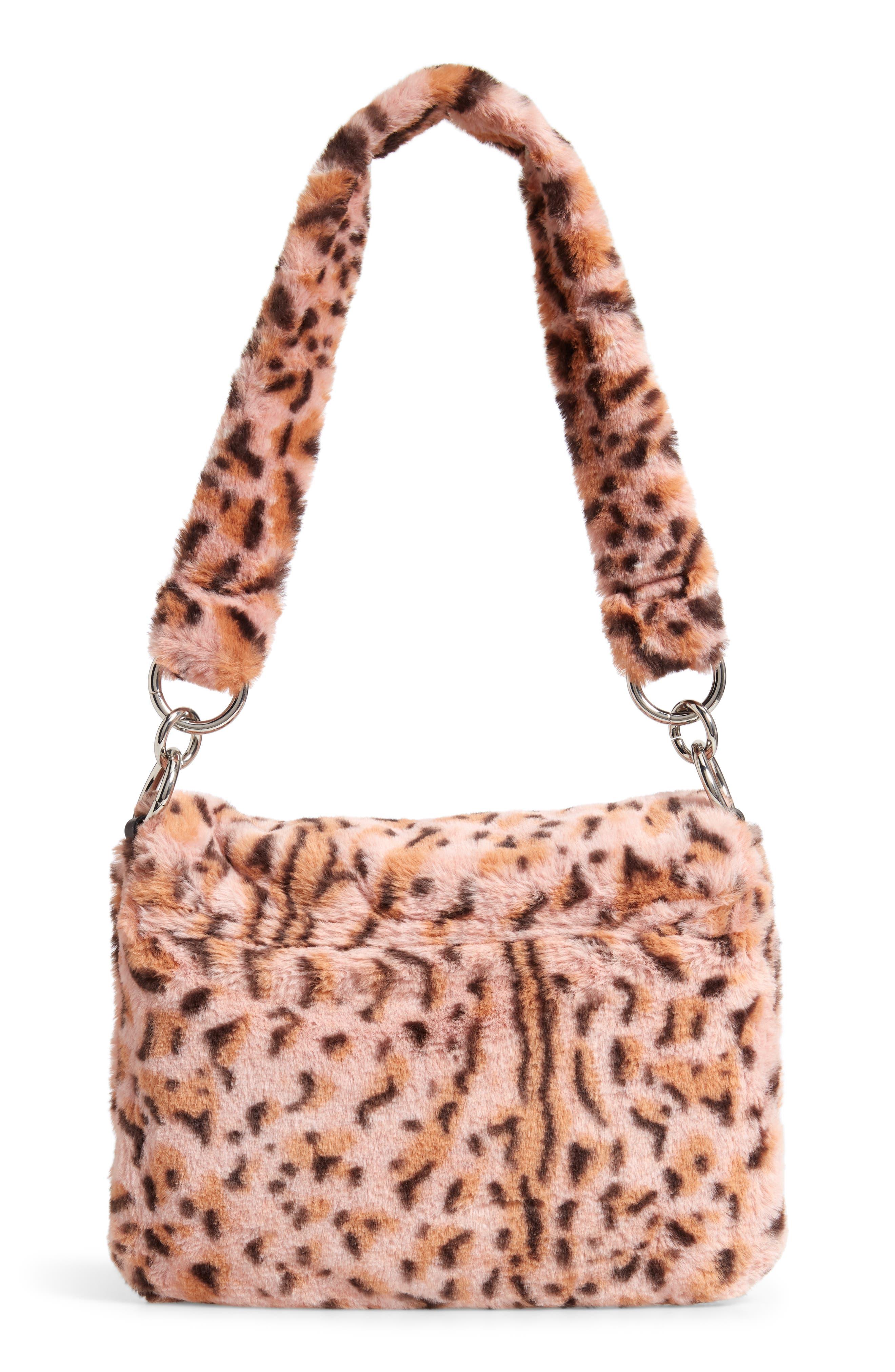 Teddy Leopard Print Faux Fur Shoulder Bag,                             Alternate thumbnail 3, color,                             650