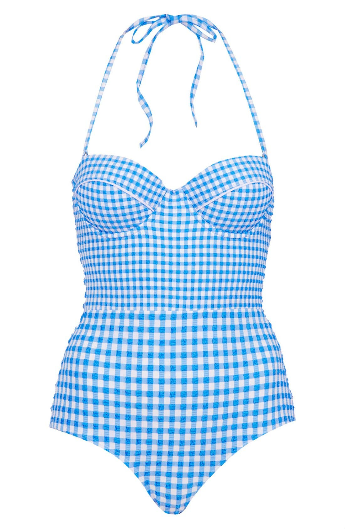 TOPSHOP Gingham One-Piece Swimsuit, Main, color, 400