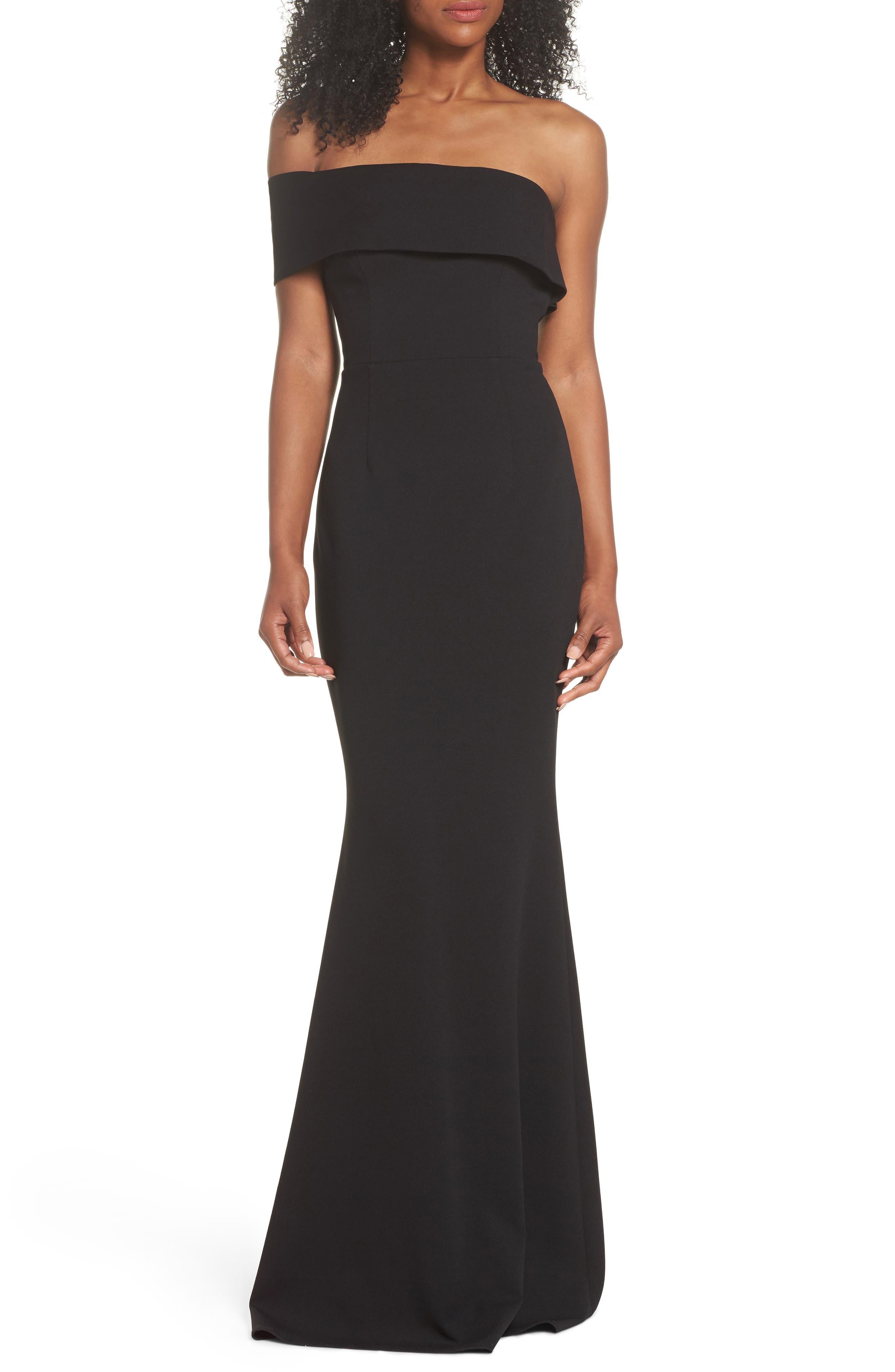 Titan One-Shoulder Cutout Crepe Gown,                             Main thumbnail 1, color,                             BLACK