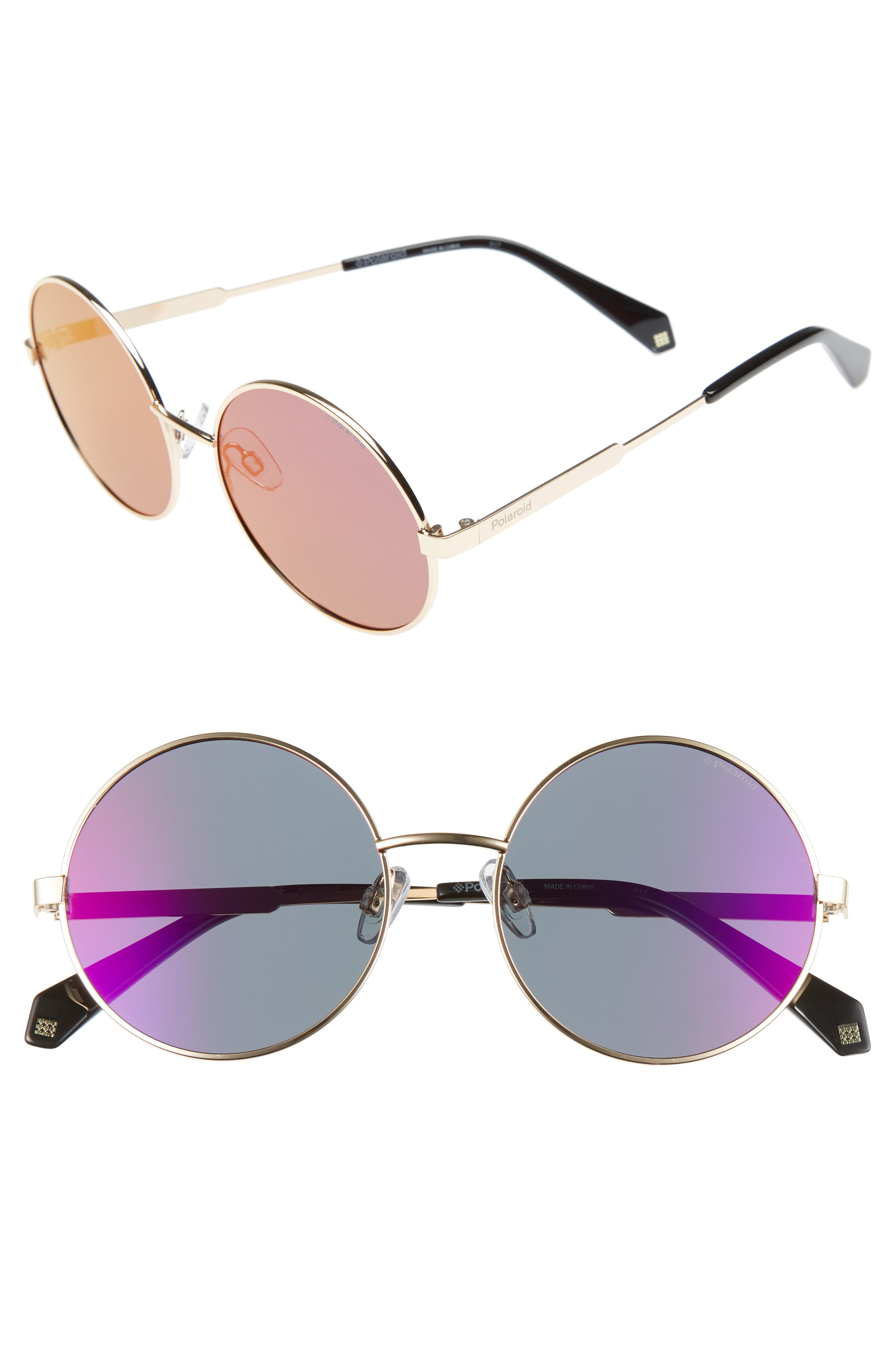 55mm Polarized Round Sunglasses,                             Main thumbnail 2, color,