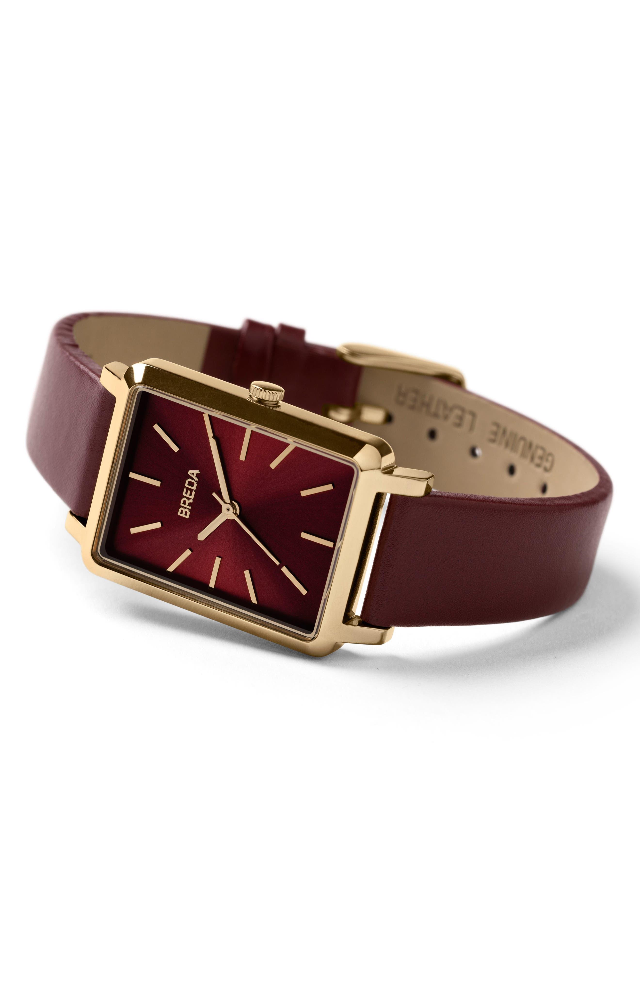 Baer Rectangular Leather Strap Watch, 26mm,                             Alternate thumbnail 10, color,