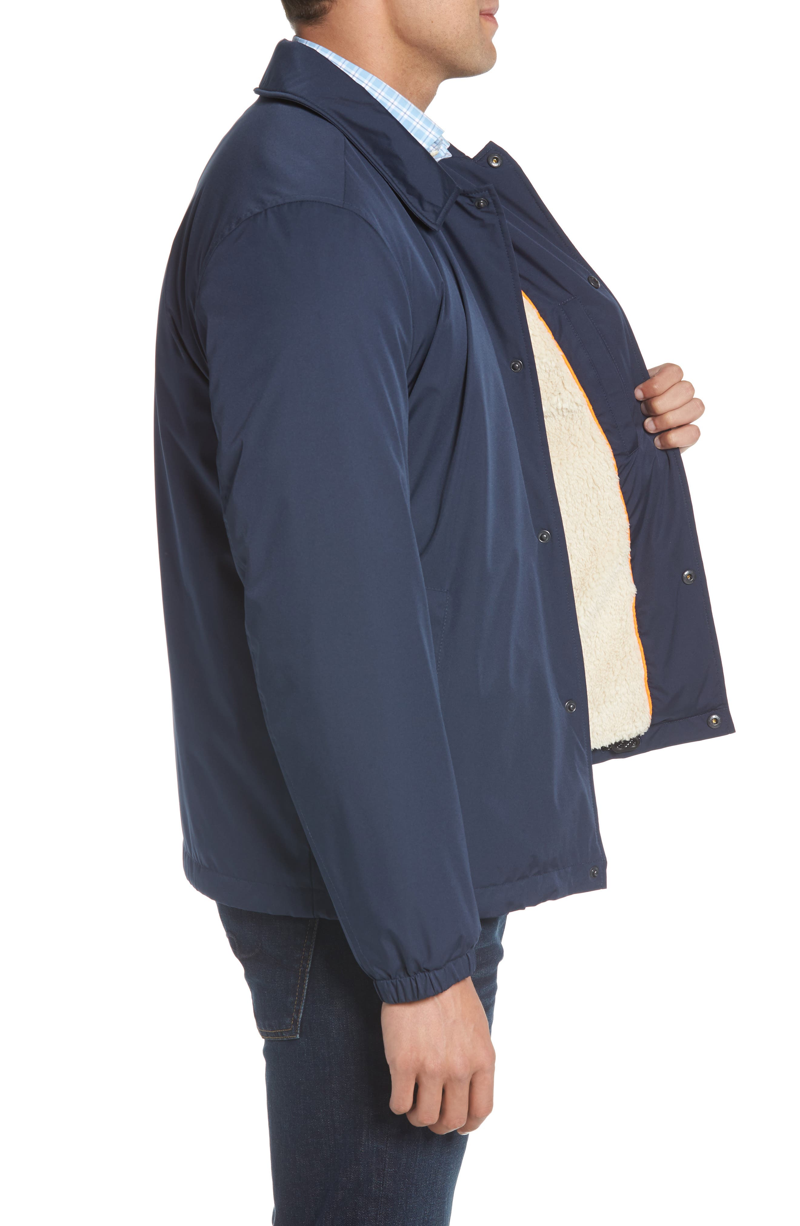 Faux Shearling Lined Jacket,                             Alternate thumbnail 3, color,                             INDIA INK