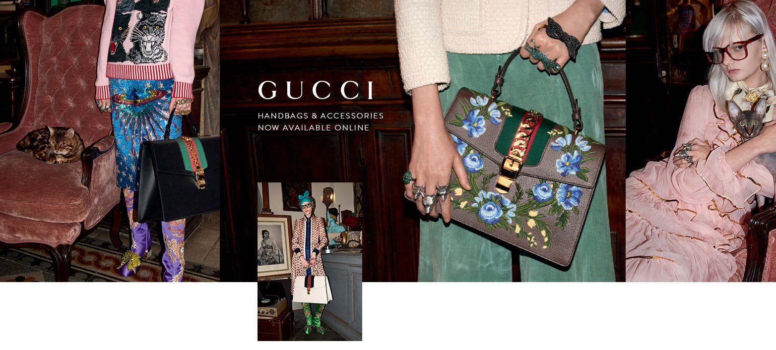 Online now: Gucci handbags, jewelry, watches, scarves and belts.