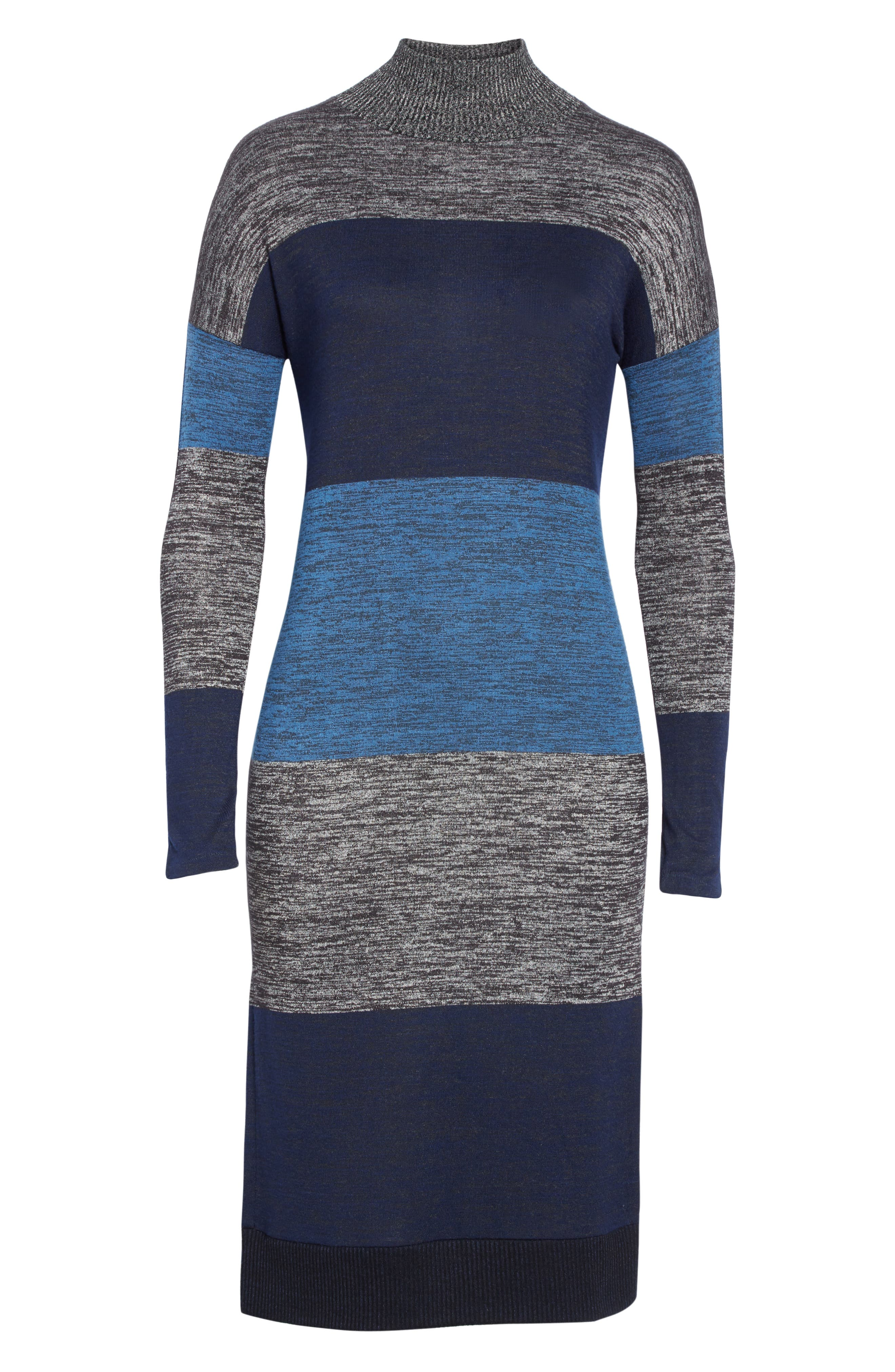 rag & bone Bowery Stripe Turtleneck Sweater Dress,                             Alternate thumbnail 6, color,                             BLUE STRIPE