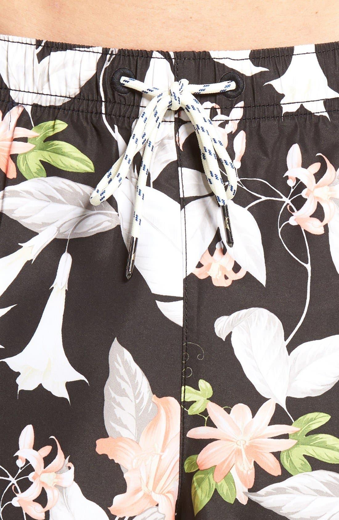 Naples Brego Blooms Swim Trunks,                             Alternate thumbnail 3, color,                             001