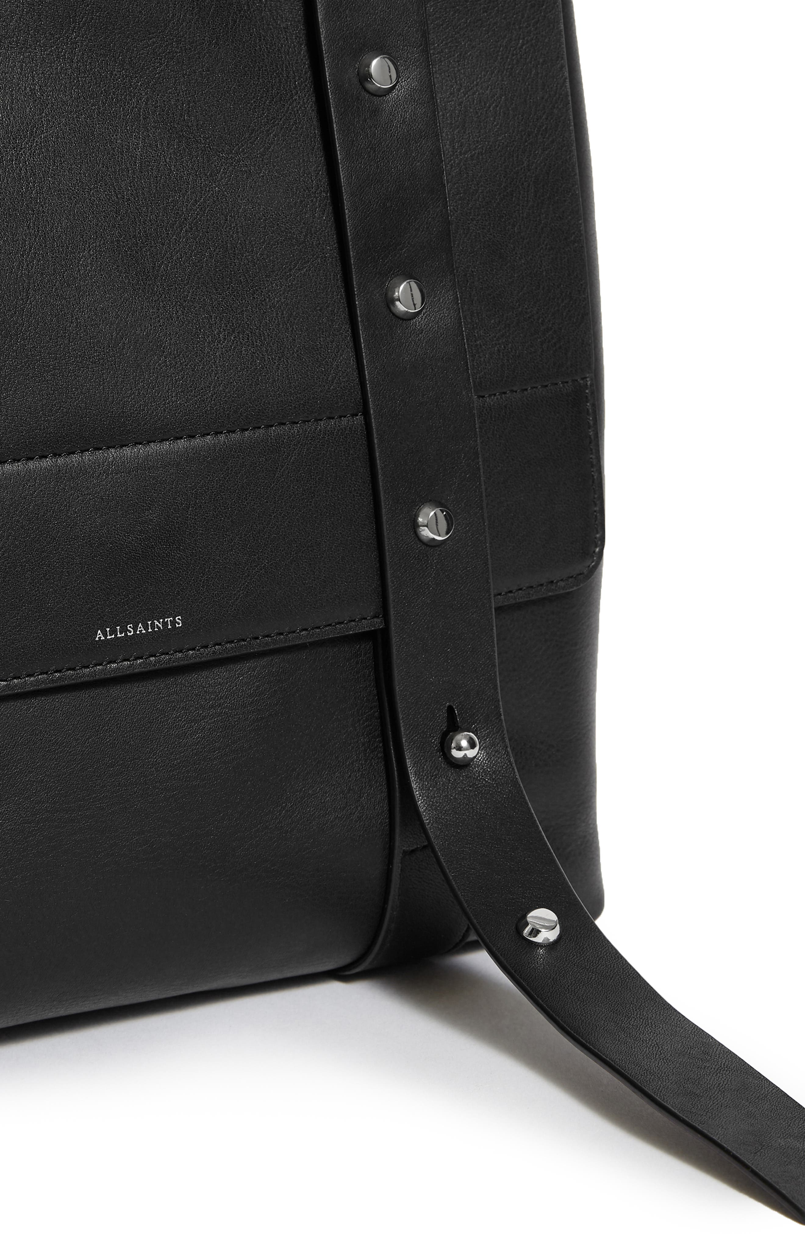 Sid Leather Convertible Backpack,                             Alternate thumbnail 5, color,                             BLACK