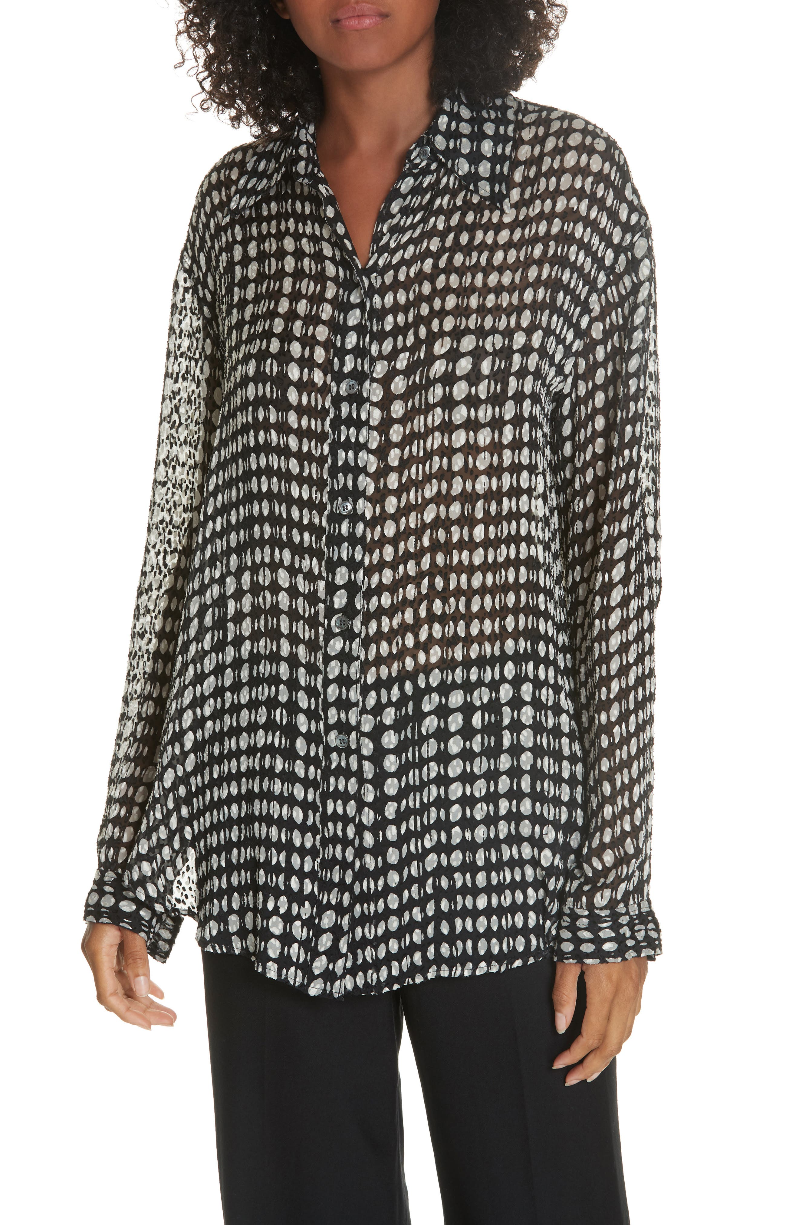 THEORY Broken Oval Blouse, Main, color, 001