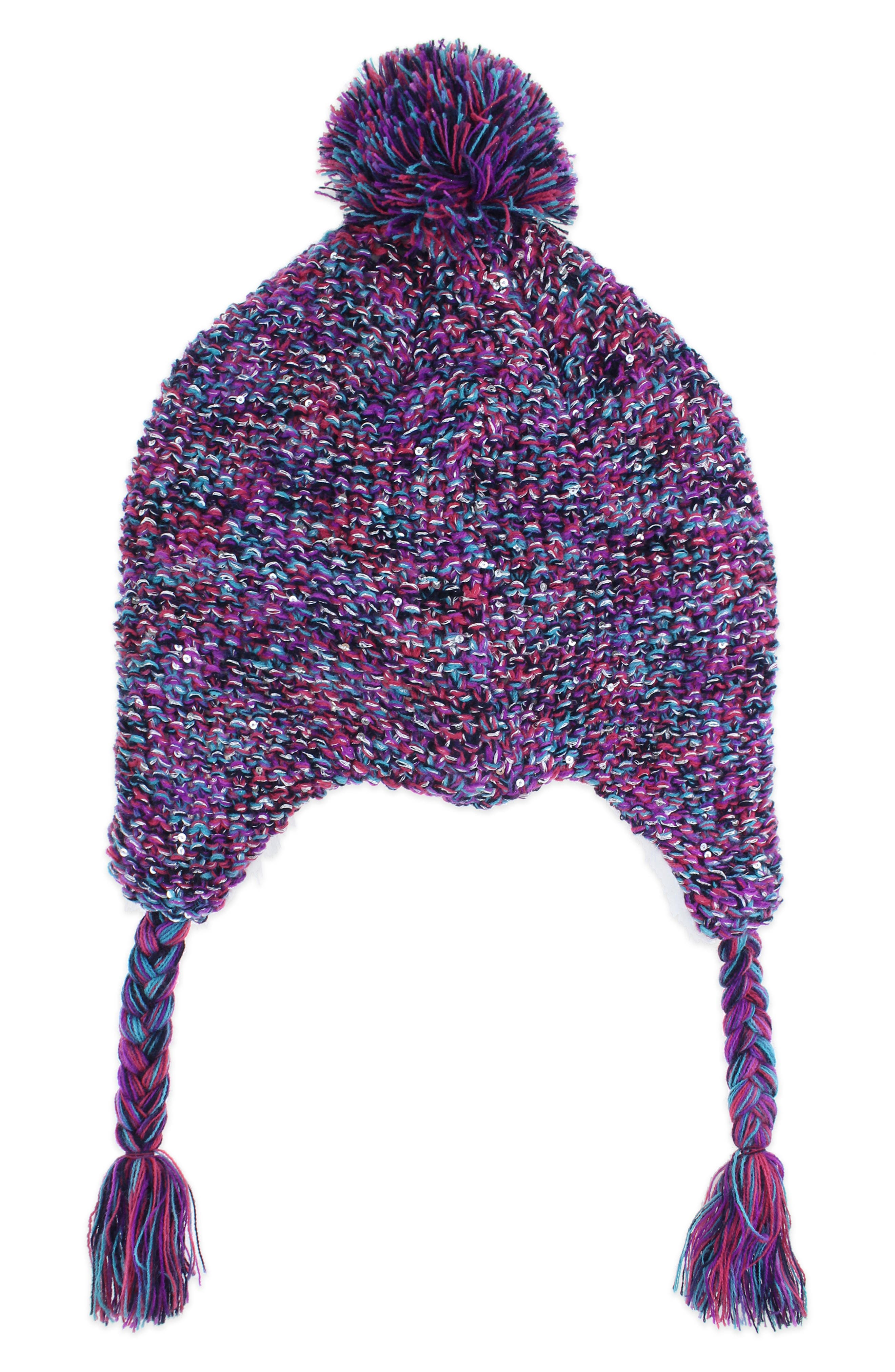 Space Dyed Earflap Hat & Gloves Set,                             Alternate thumbnail 2, color,                             NAVY COMBO