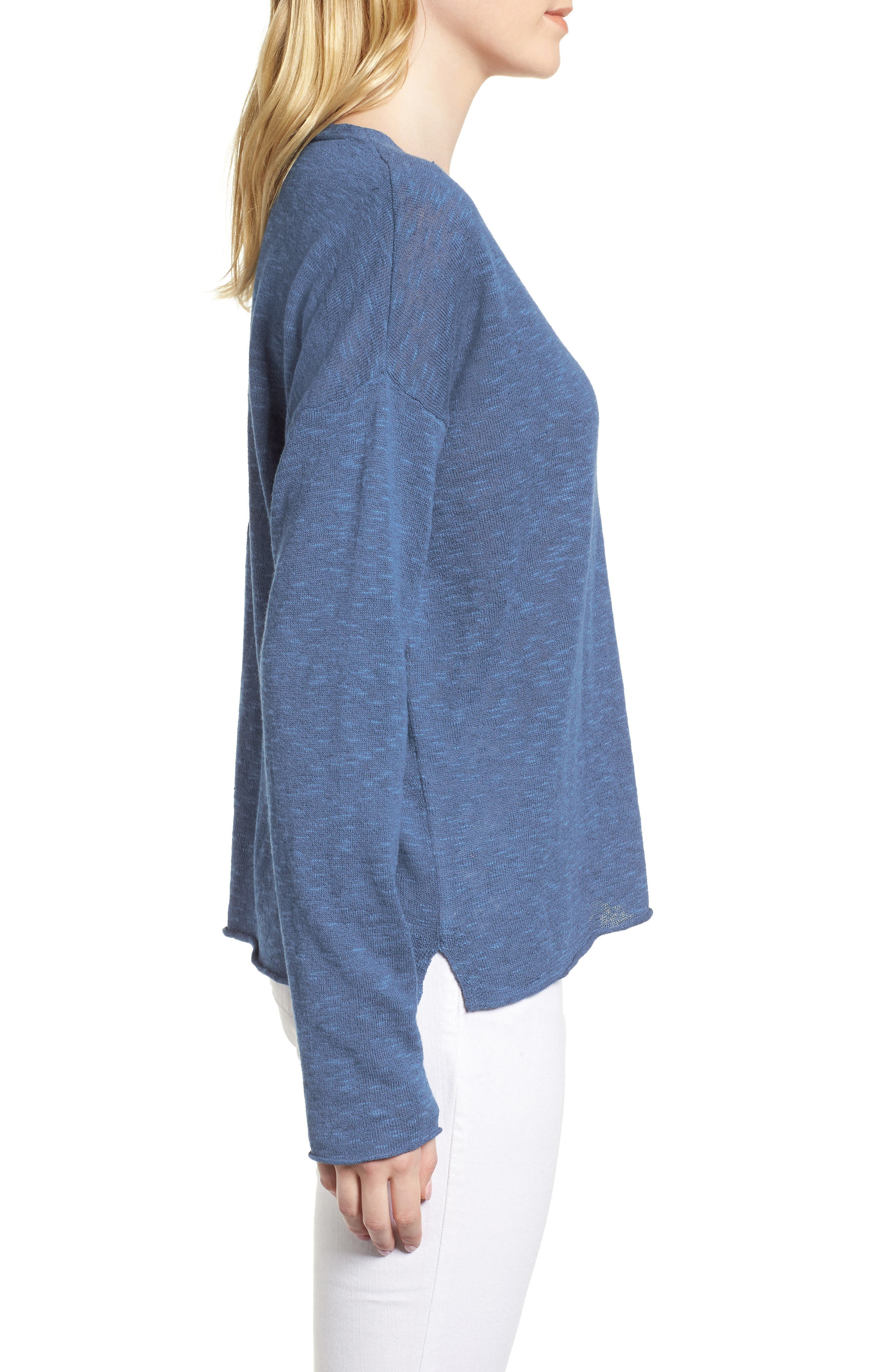 Boxy Organic Linen & Cotton Sweater,                             Alternate thumbnail 13, color,