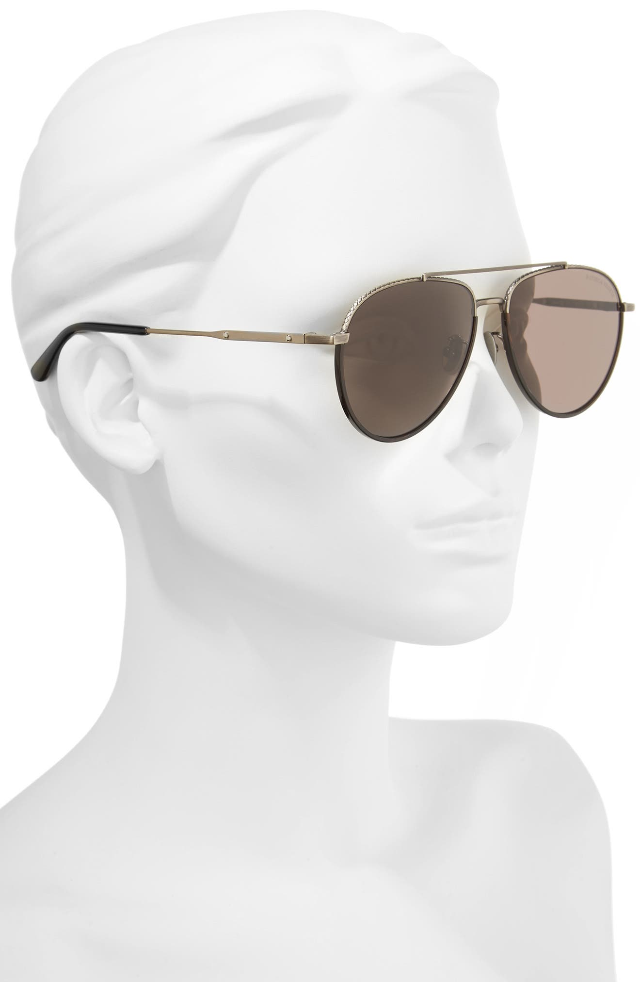 59mm Aviator Sunglasses,                             Alternate thumbnail 2, color,                             SILVER/ BLACK