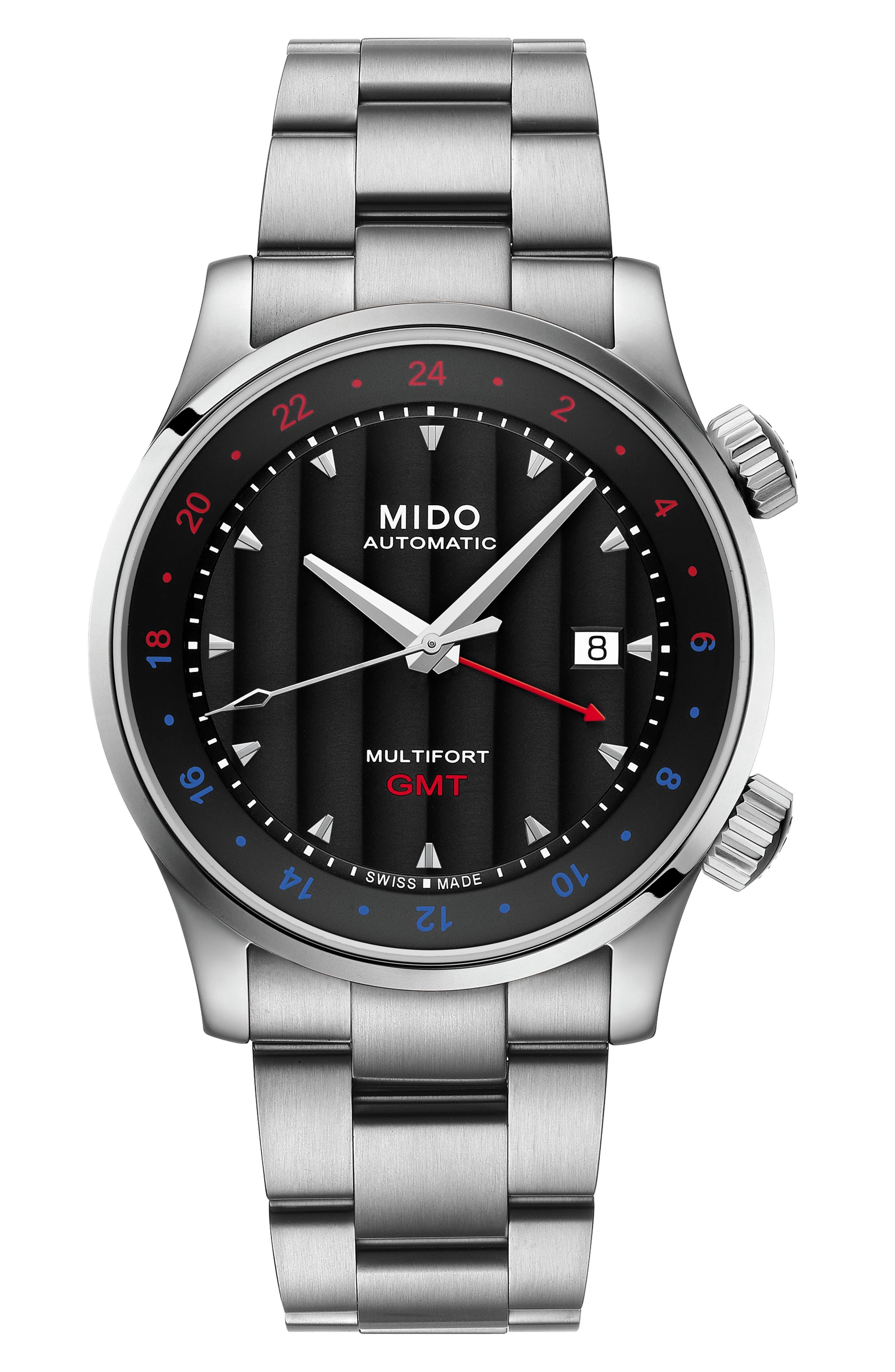 Multifort Automatic Bracelet Watch,                         Main,                         color, SILVER/ BLACK/ SILVER
