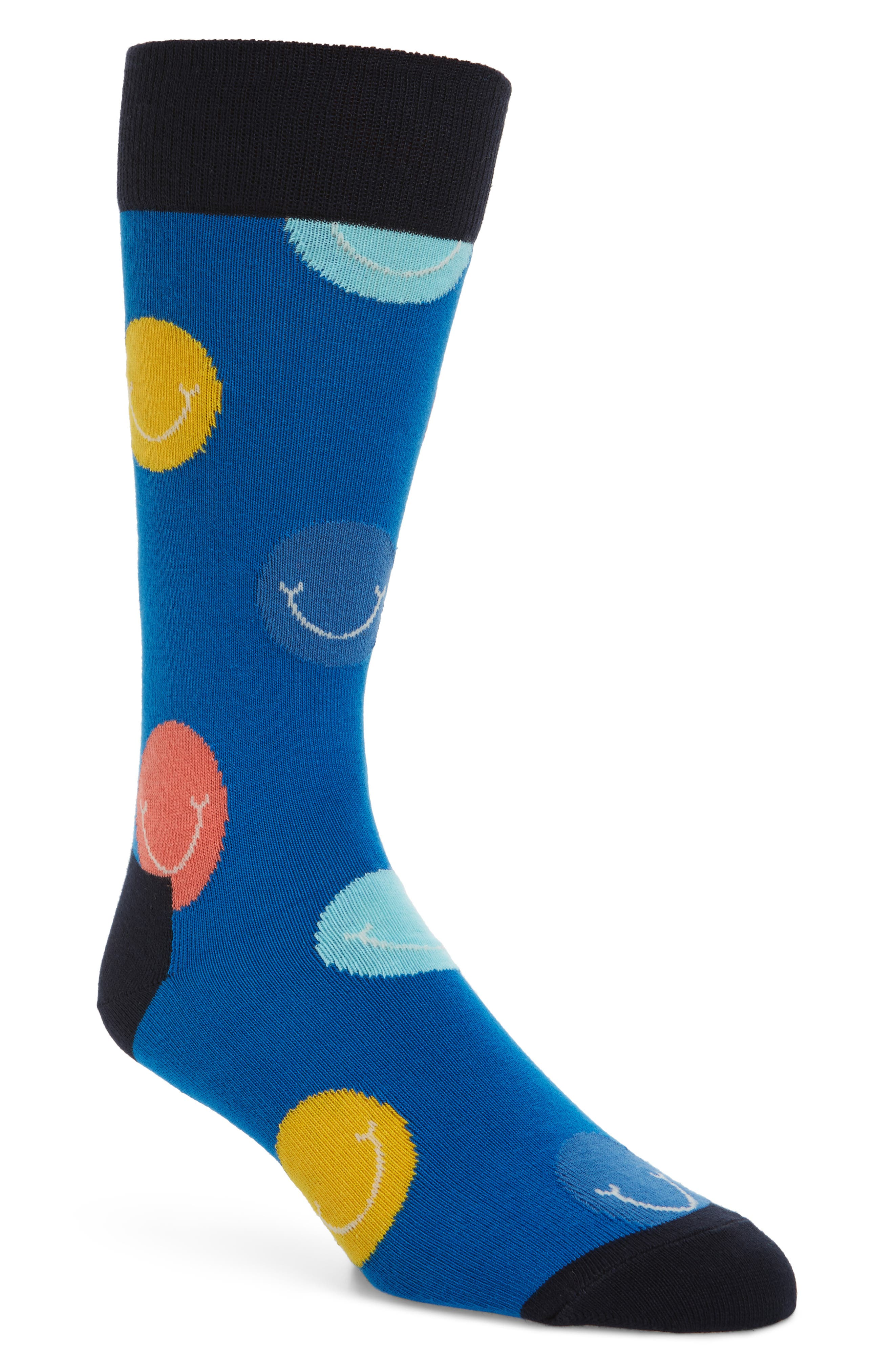 Smile Socks,                             Main thumbnail 1, color,                             BLUE MULTI