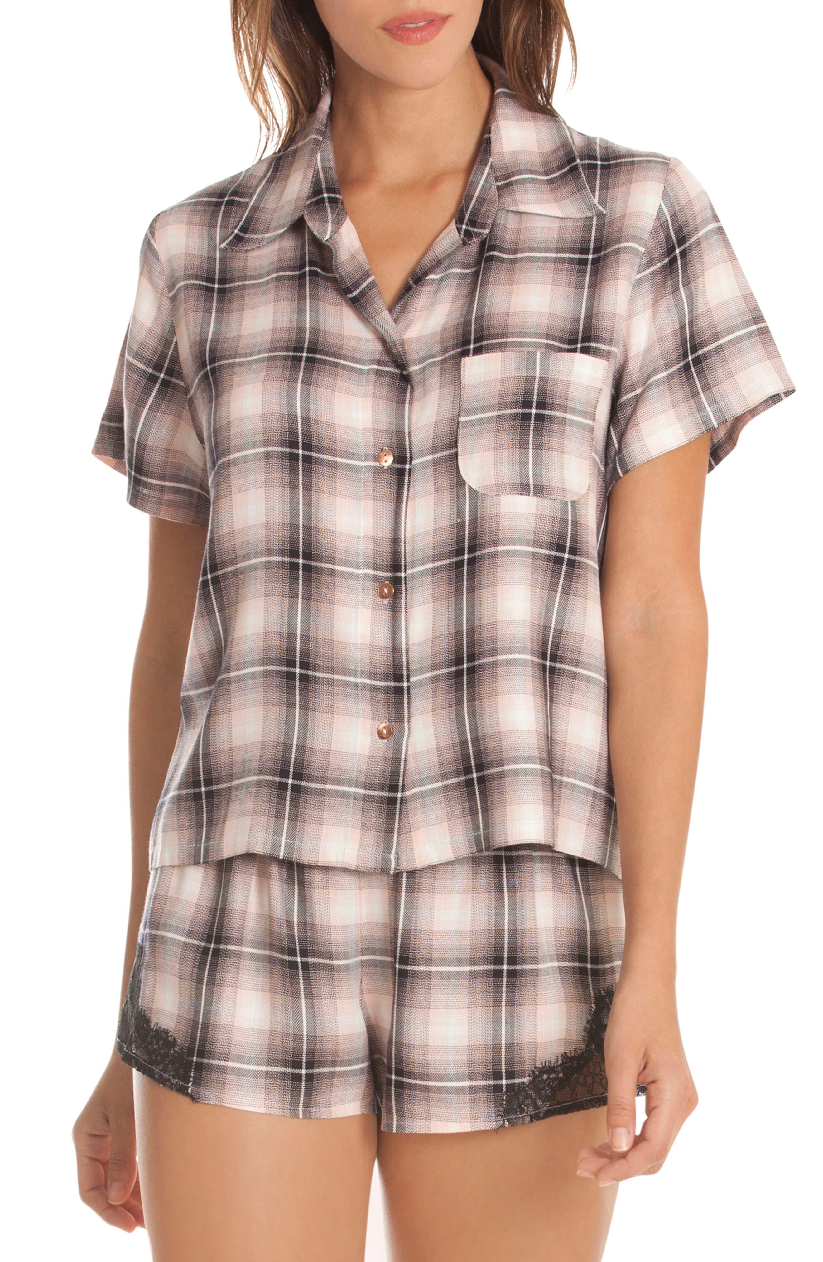 Plaid Lace Pajamas,                         Main,                         color, 650