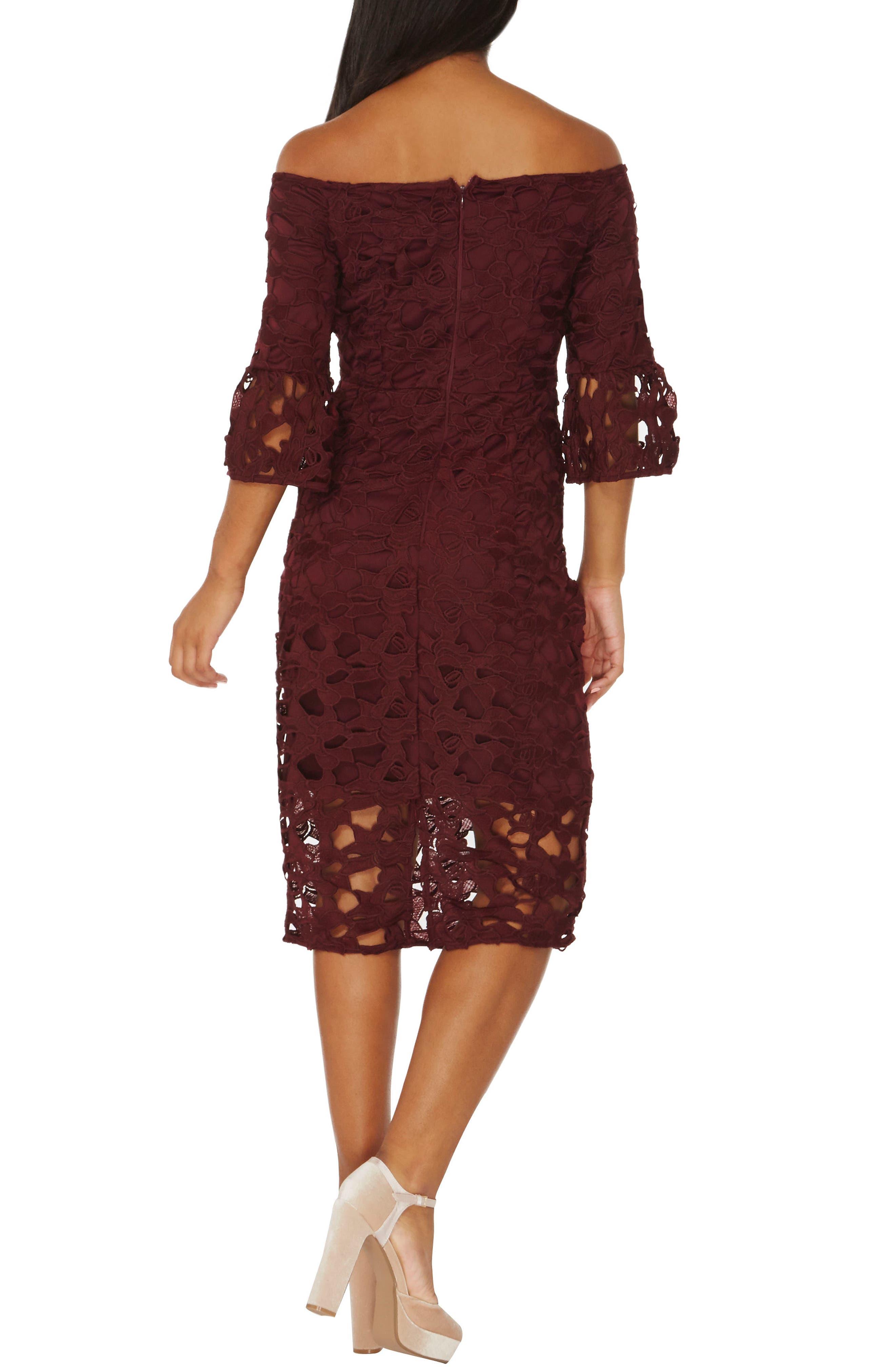 Lace Off the Shoulder Dress,                             Alternate thumbnail 2, color,                             931