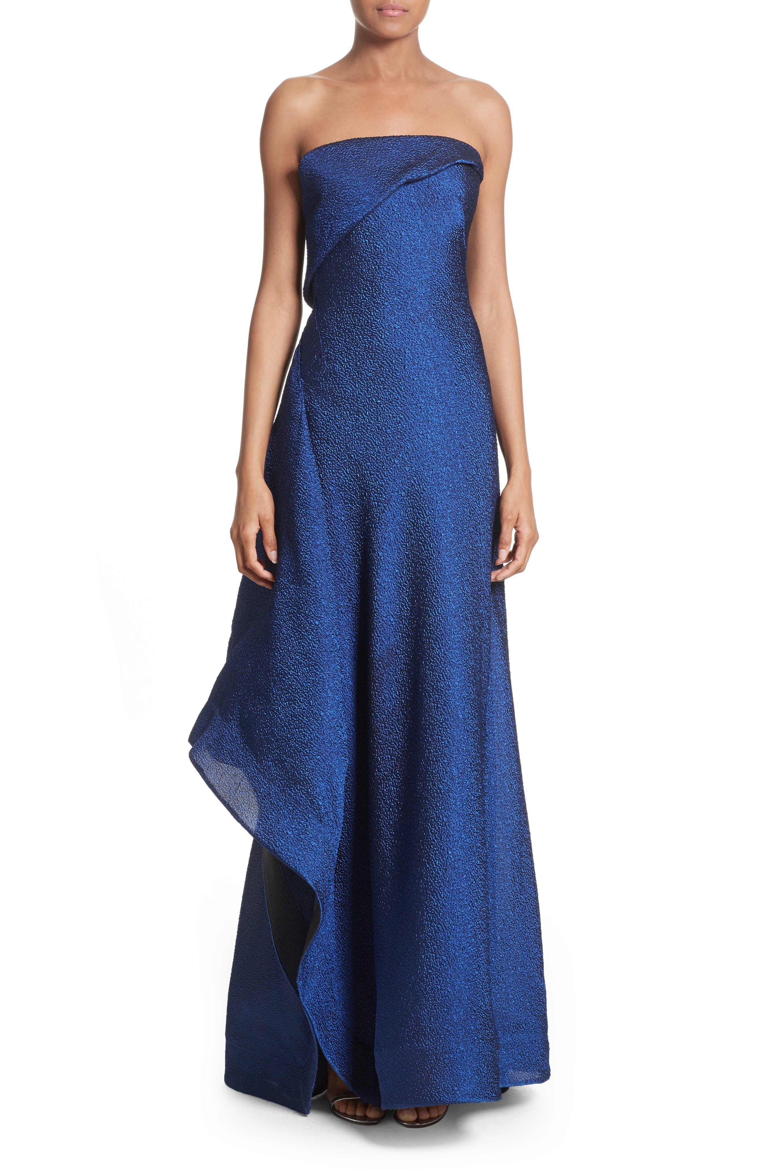 Side Drape Strapless Gown,                             Alternate thumbnail 5, color,