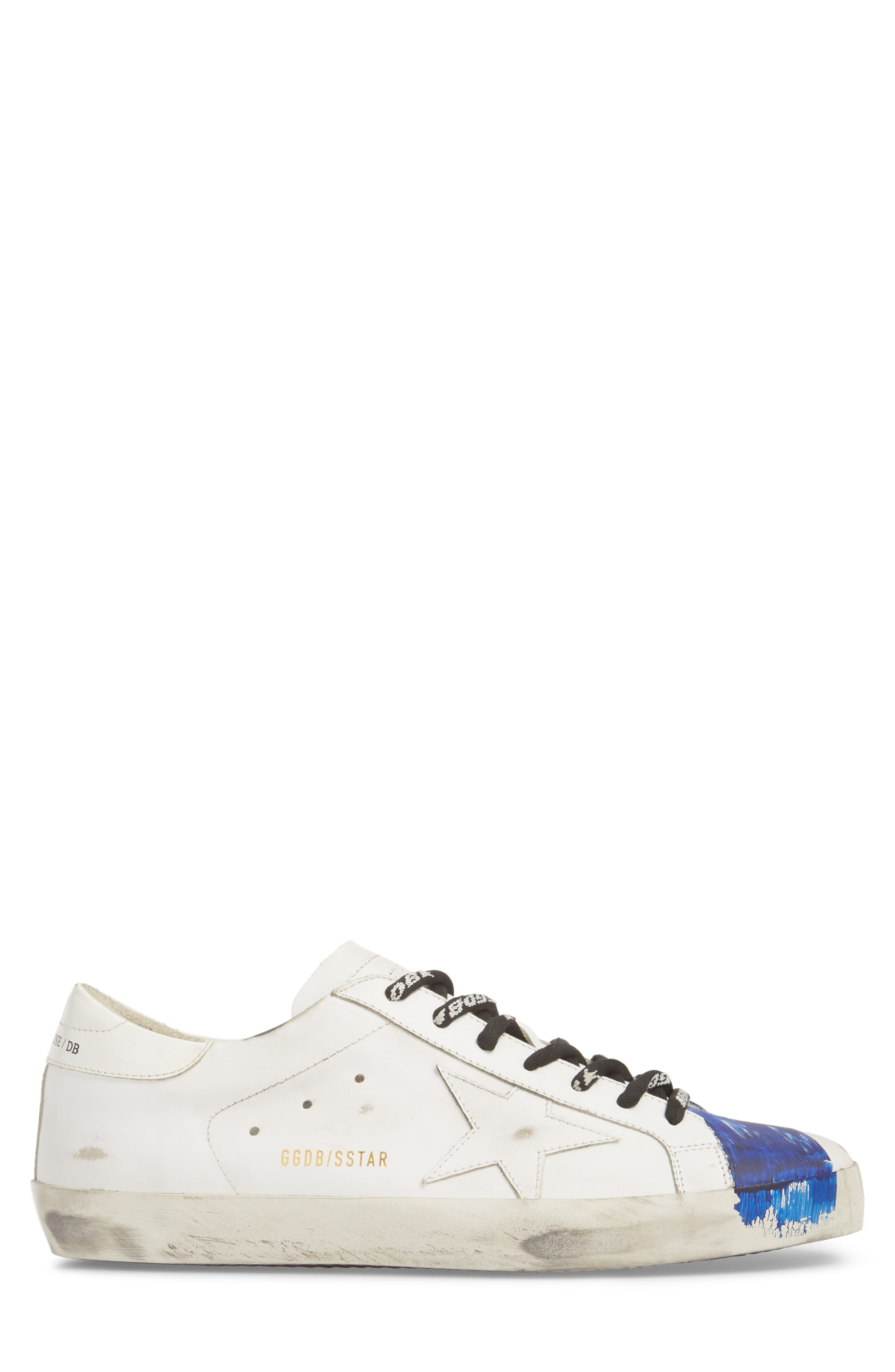 Superstar Distressed Sneaker,                             Alternate thumbnail 3, color,                             WHITE-BLUE STRIPE